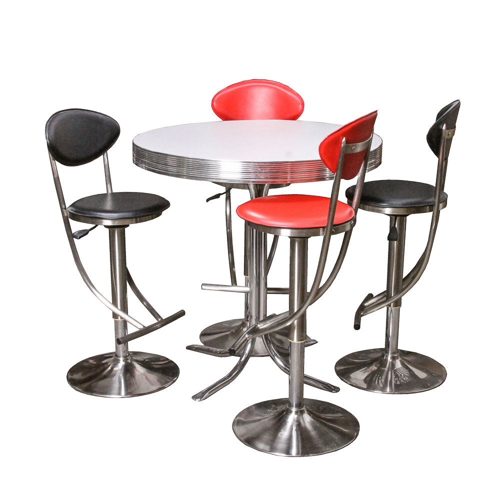 Modern Diner Style Pub Table and Chairs