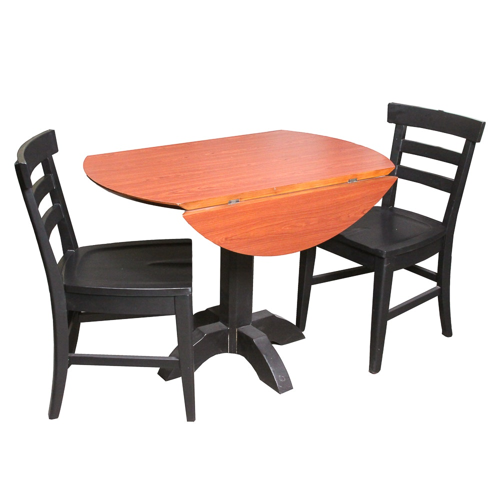 Contemporary Drop-Leaf Pedestal Table with Side Chairs by Chromcraft