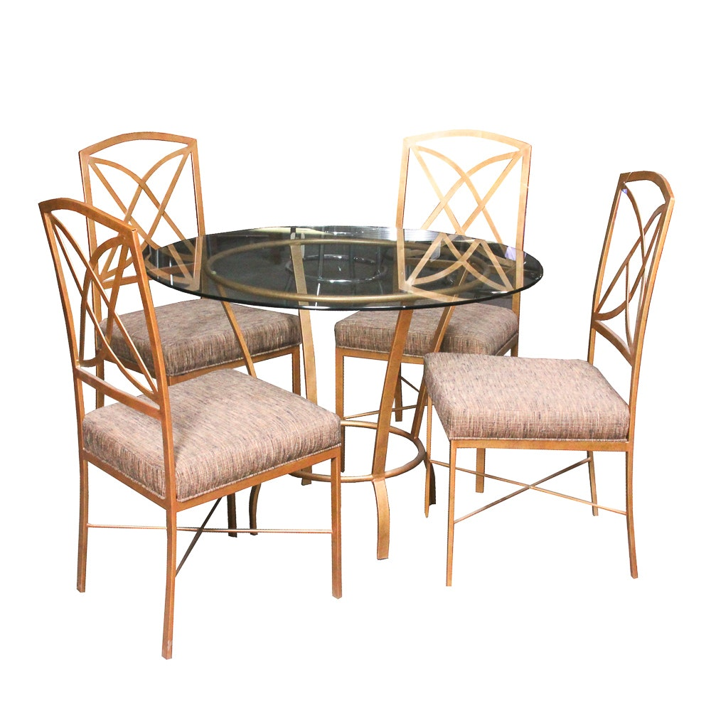 Contemporary Glass Top Metal Table with Side Chairs Featuring Pastel