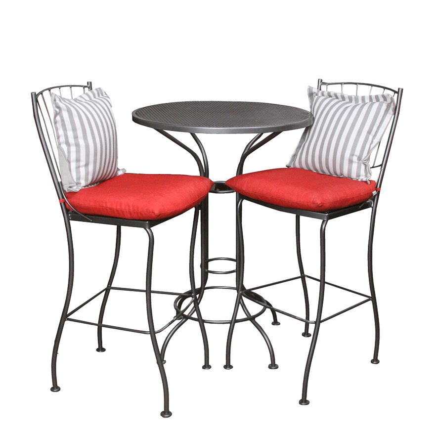 Pub Style Patio Table With Woodard Chairs Ebth