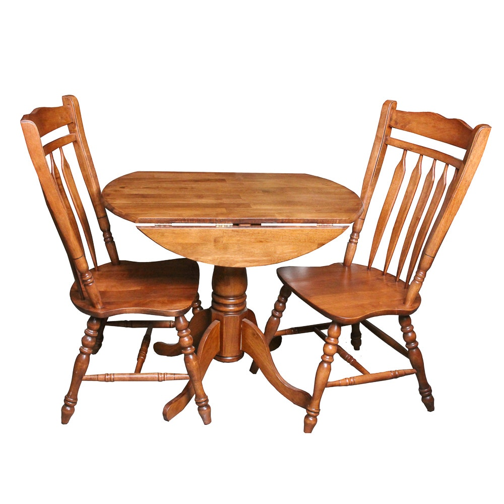 Colonial Style Drop-Leaf Dining Table and Two Chairs