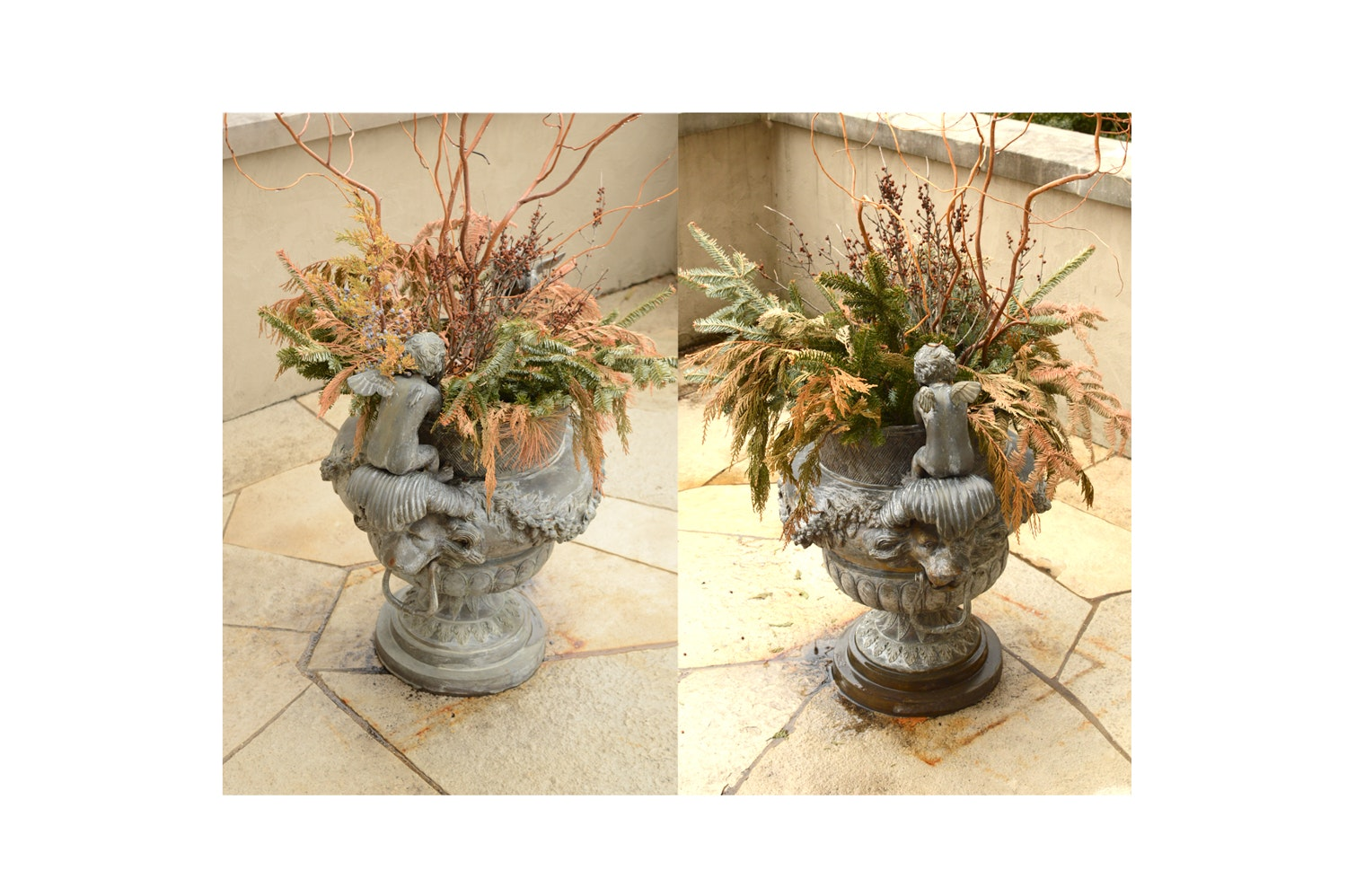 Cast Bronze Lion Planters with Cupids