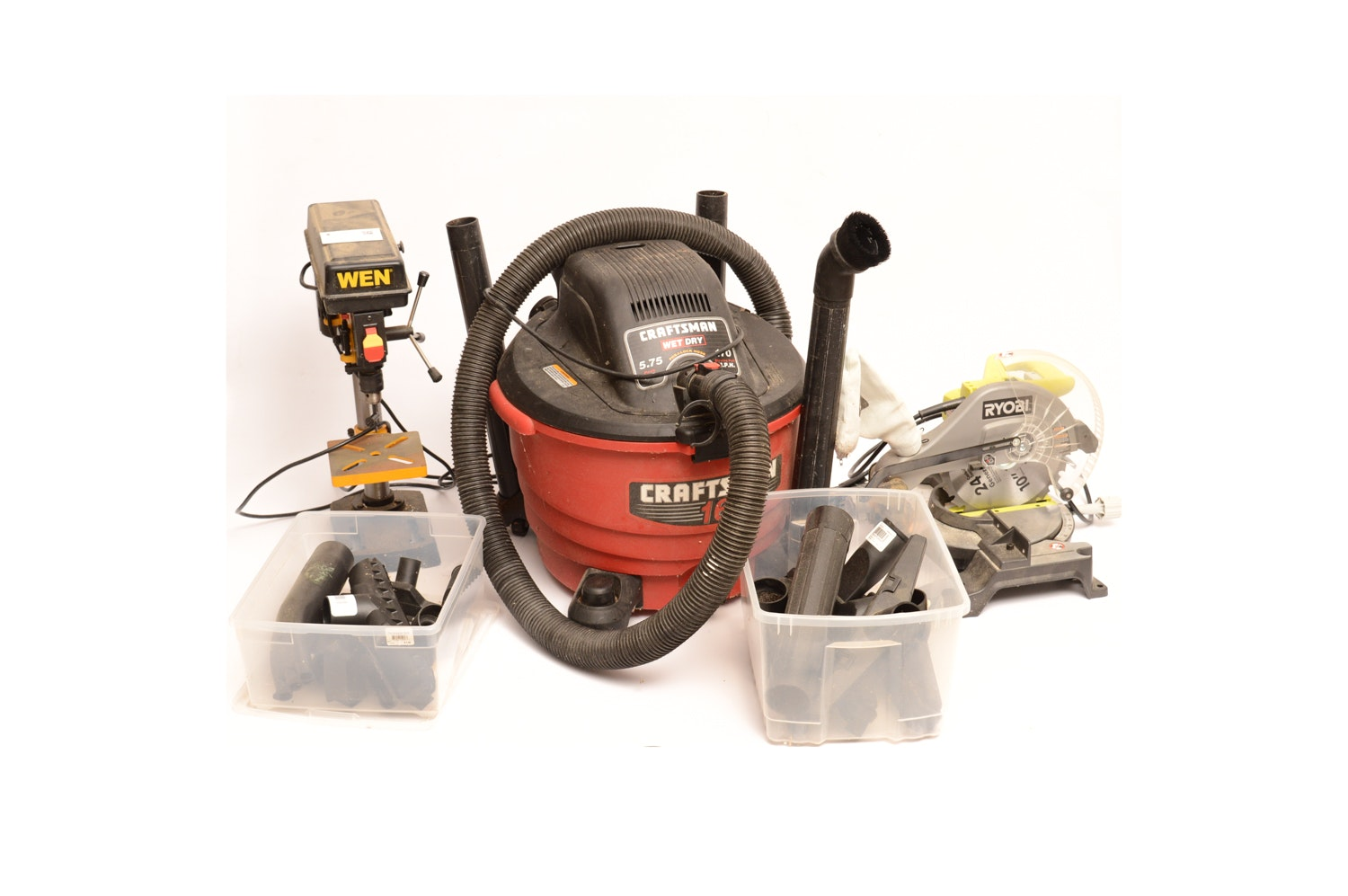 "Craftsman 16 Gal Shop Vac, Ryobi 10"" Miter Saw and Wen Drill Press"