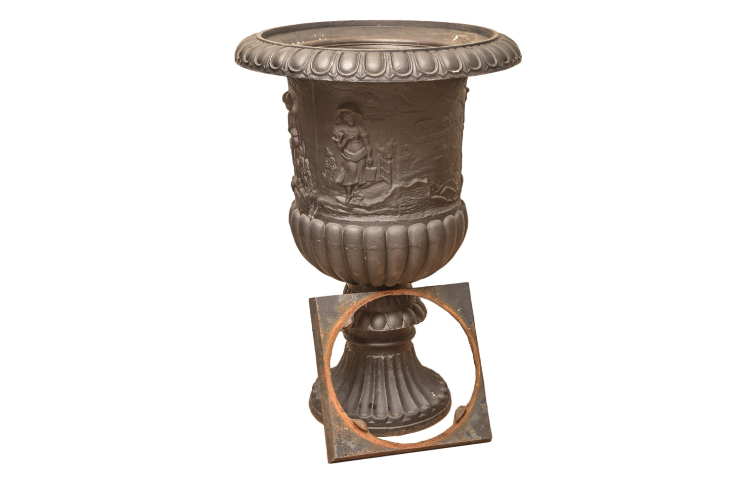 Oversized Vintage French Cast Iron Urn