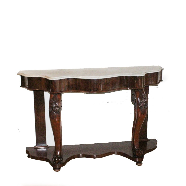 Antique Demilune Console Table with Marble Top and Frieze Drawer