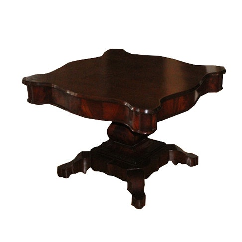 Flame Mahogany Pedestal Accent Table