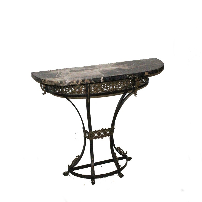 Stone Top Demilune Accent Table