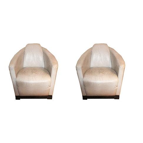 """Calia Italia Leather """"Hotel"""" Club Chairs"""