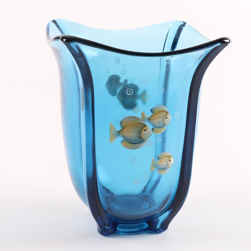 Fenton Blue Glass Hand Painted Fish Motif Vase Ebth