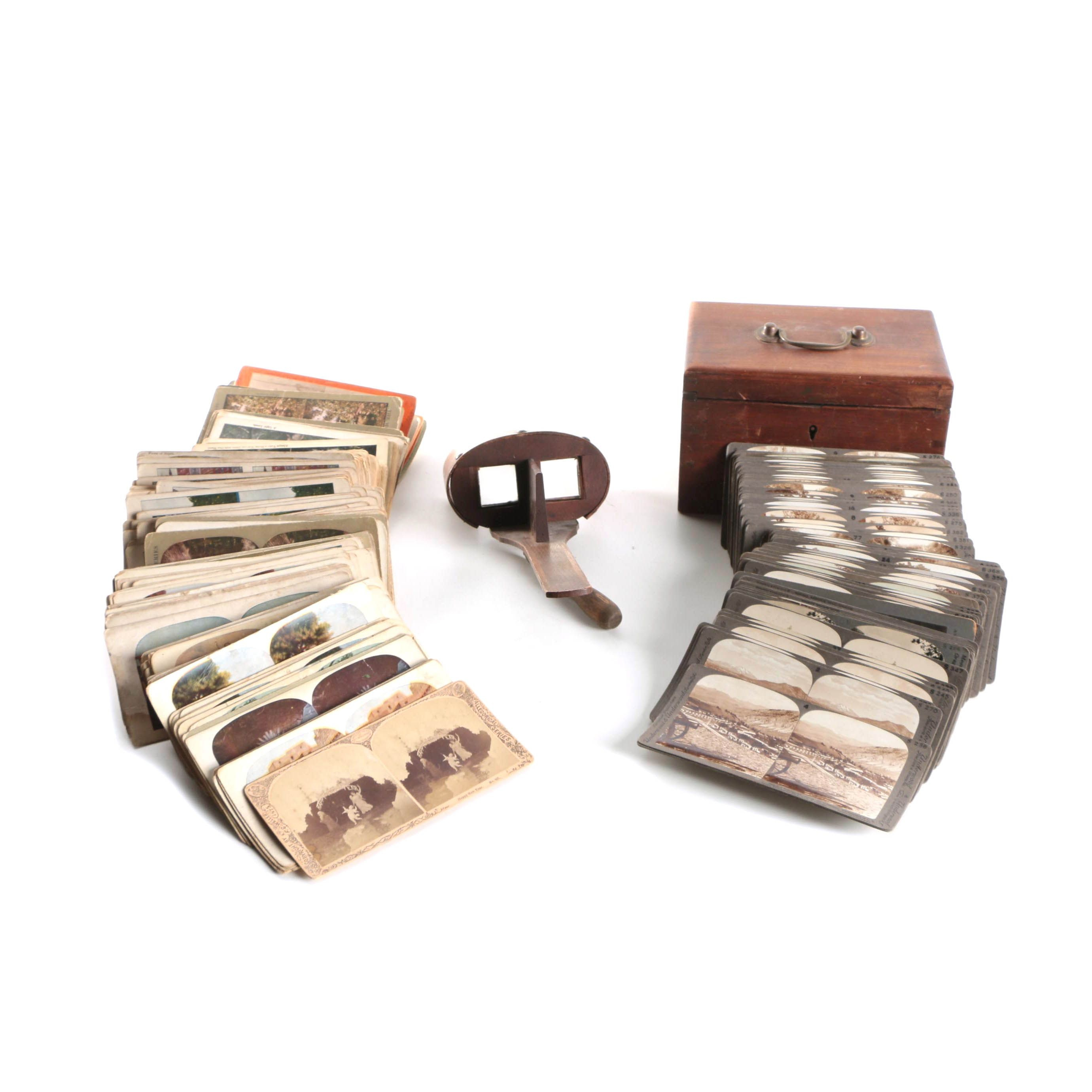 Antique Stereoscope Cards and Viewer