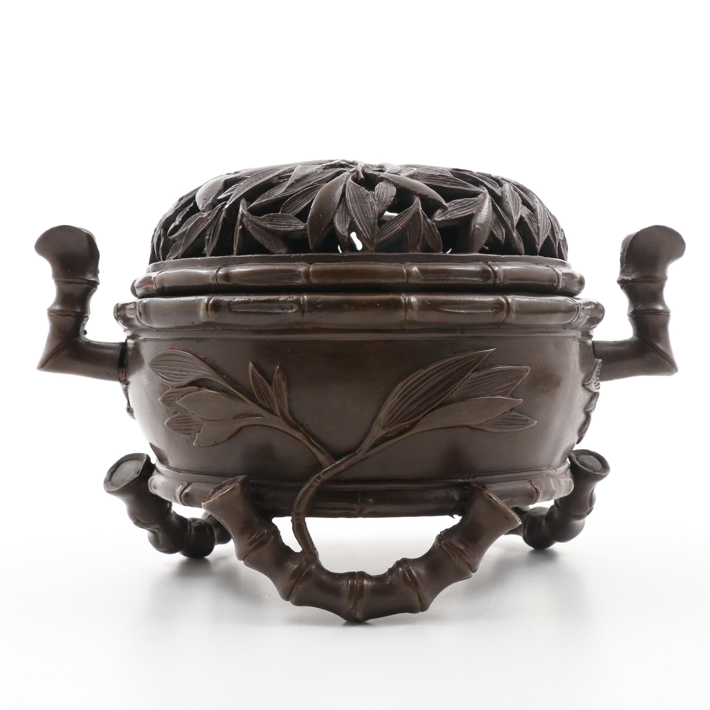 Chinese Republic Period Bronze Bamboo Censer With Pierced Cover