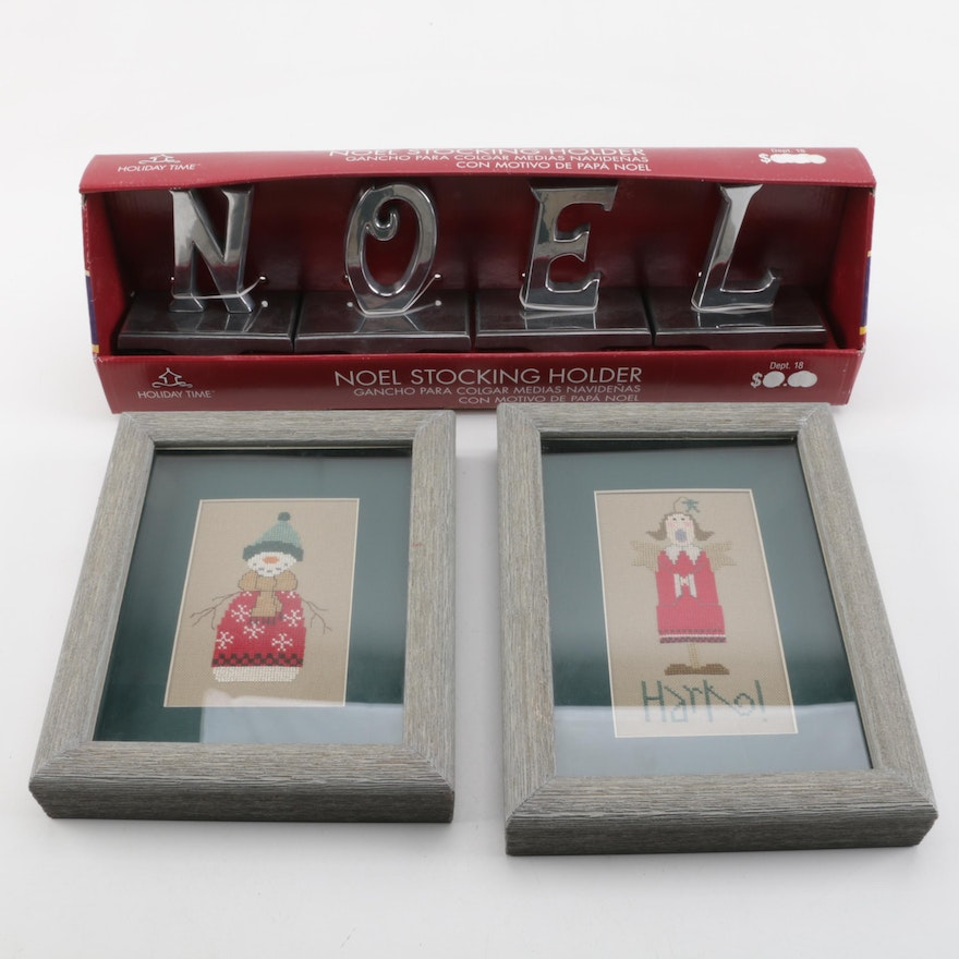 Metal Noel Stocking Holder And Holiday Framed Needlepoint Pair Ebth
