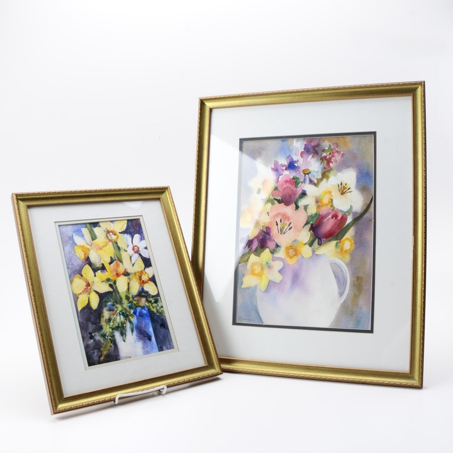 Pedersen Watercolor Paintings On Paper Of Flowers In Vases Ebth