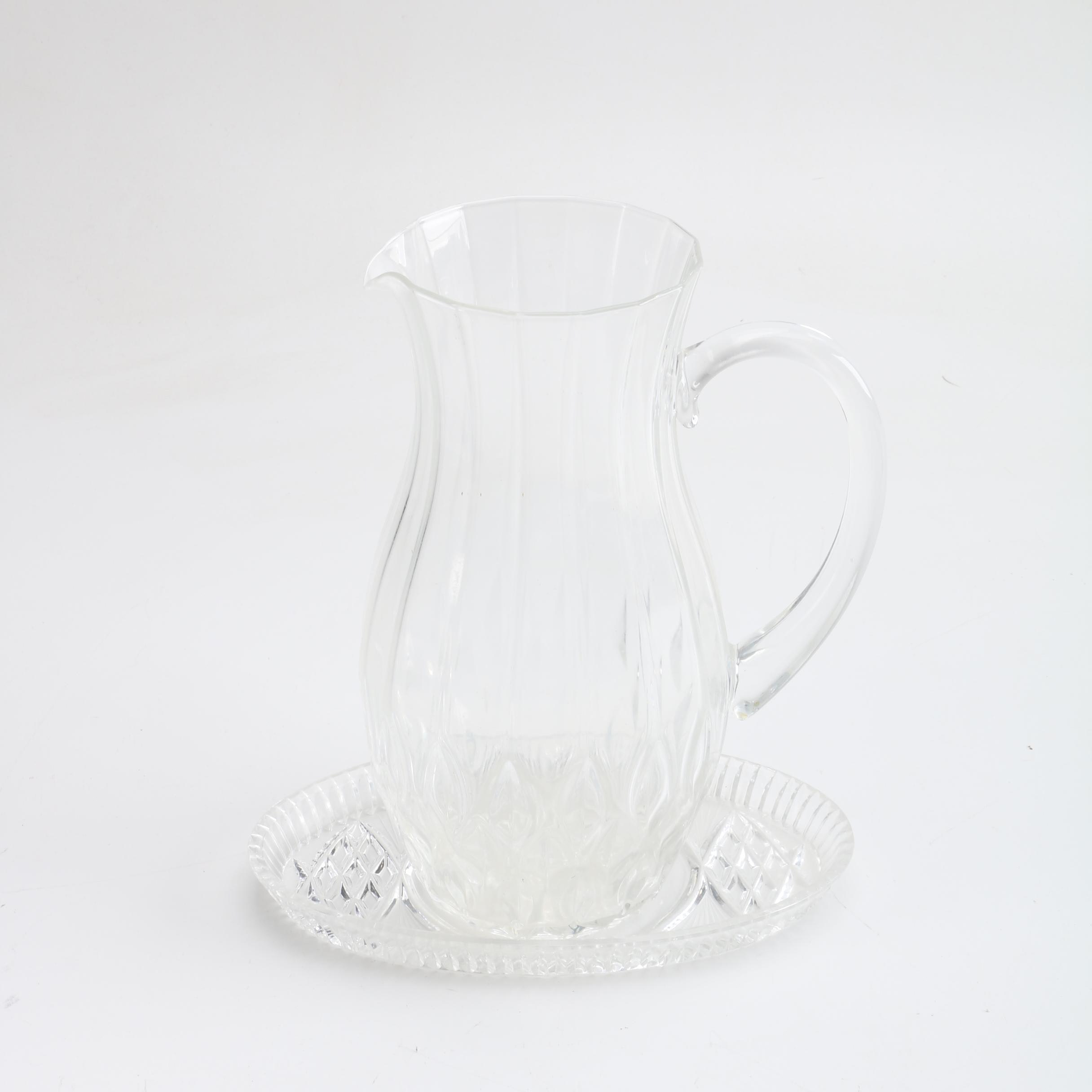 Pressed Glass Pitcher And Plate