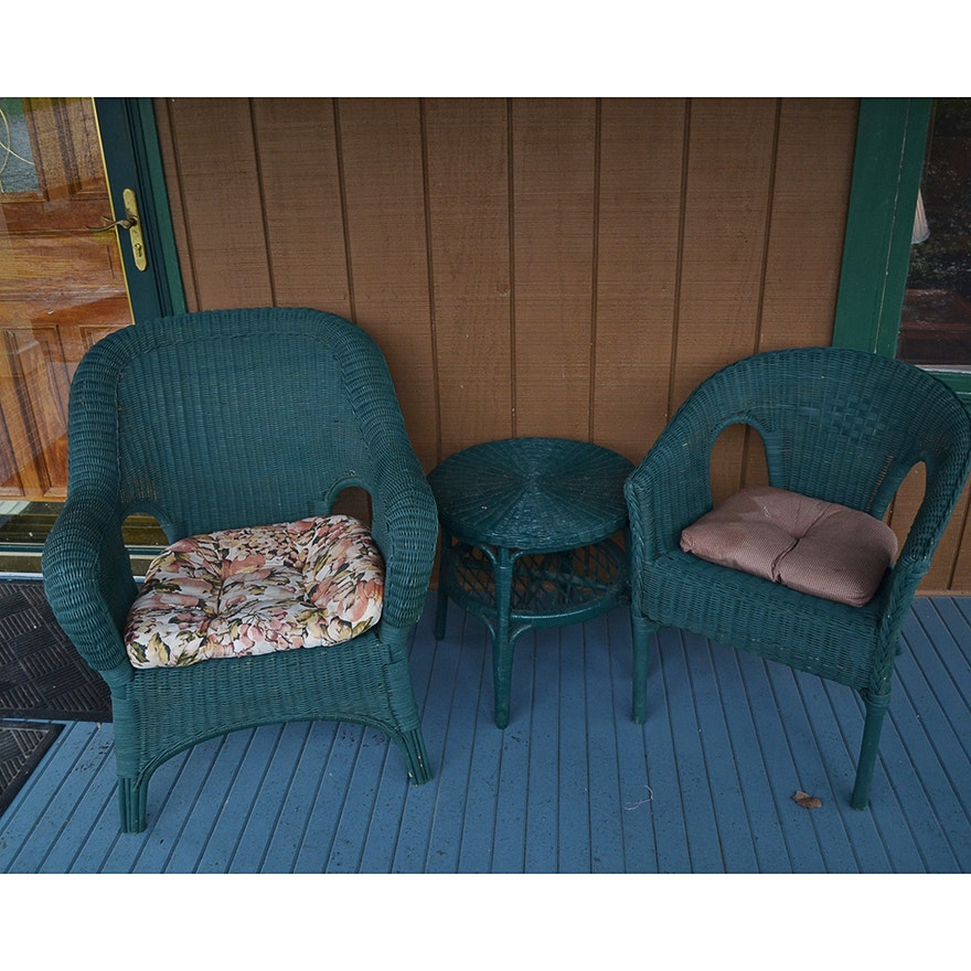 green wicker patio furniture set ebth
