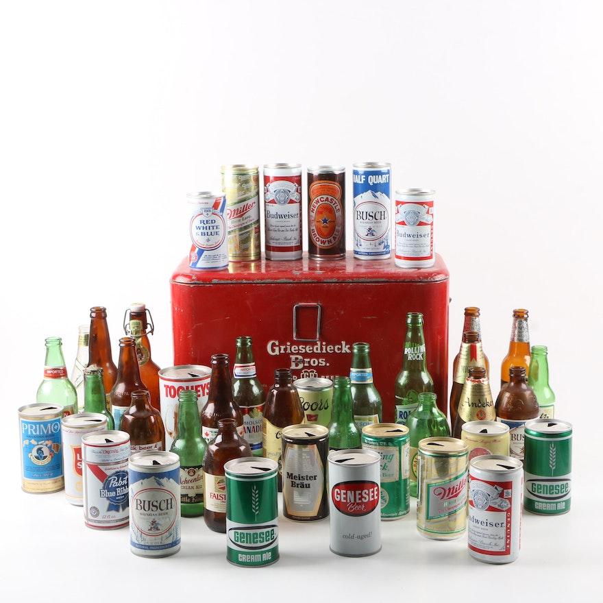 Vintage Griesedieck Bros  Good Beer Cooler and Vintage Beer Cans and Bottles