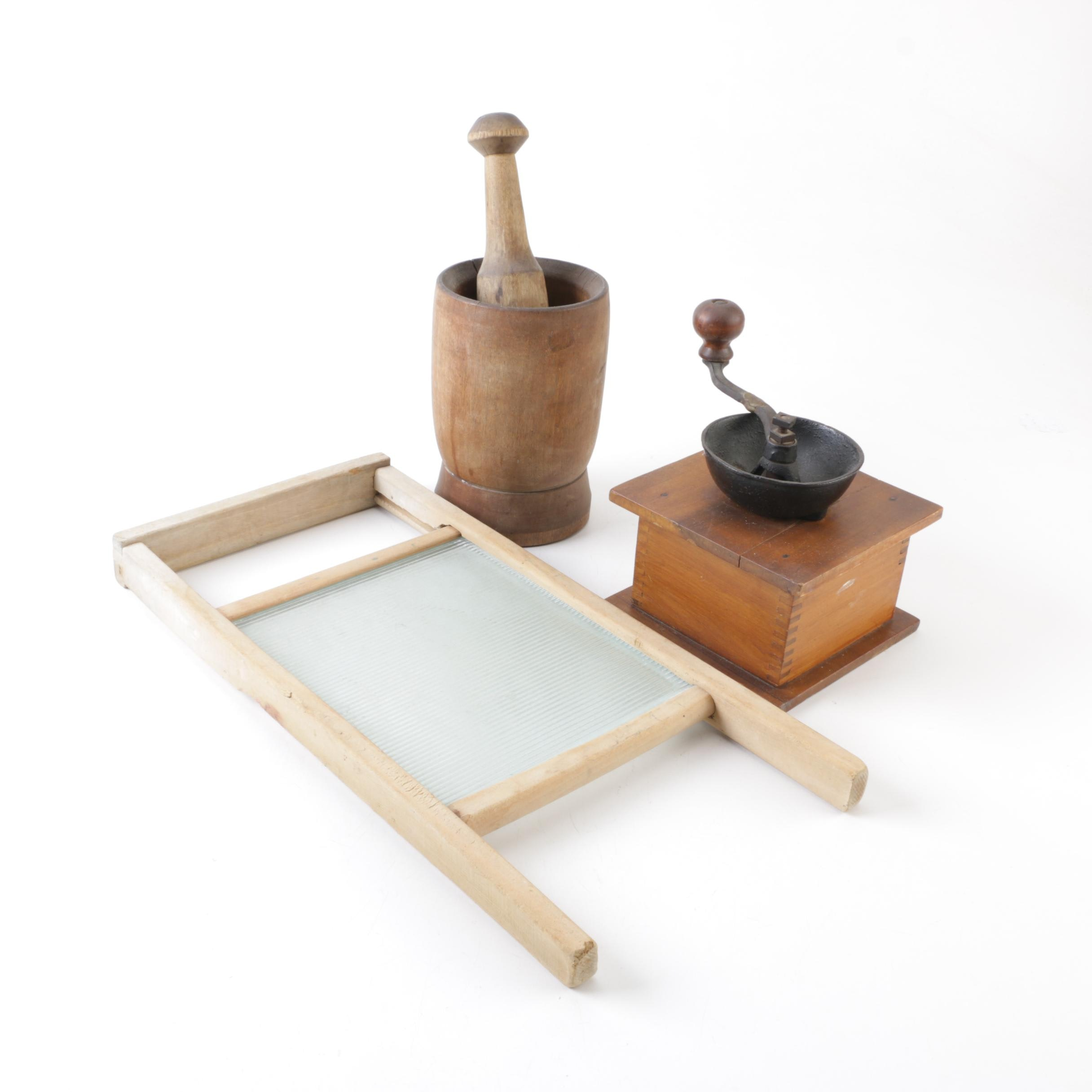 Wooden Coffee Grinder, Washboard, and Mortar with Pestle