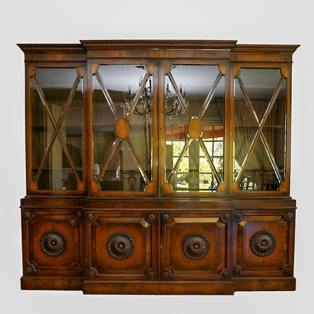 Large Vintage Neoclassical Style China Cabinet