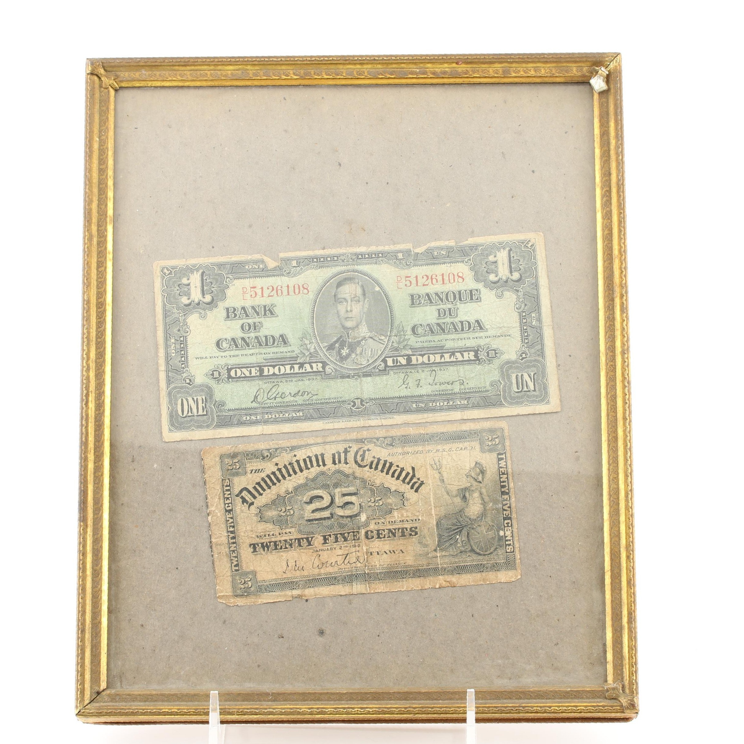 Group of Two Antique and Vintage Canadian Currency Notes