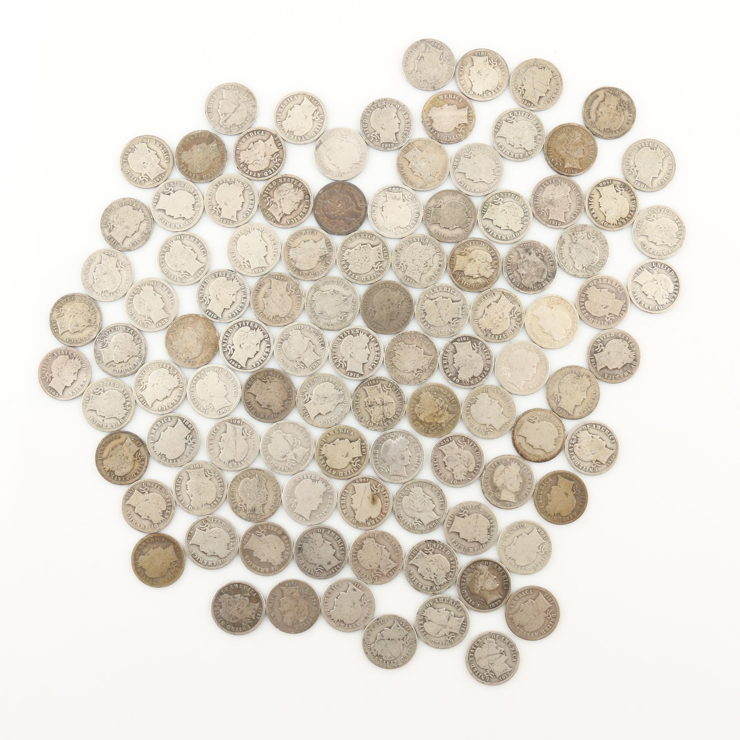 Group of 100 Barber Silver Dimes