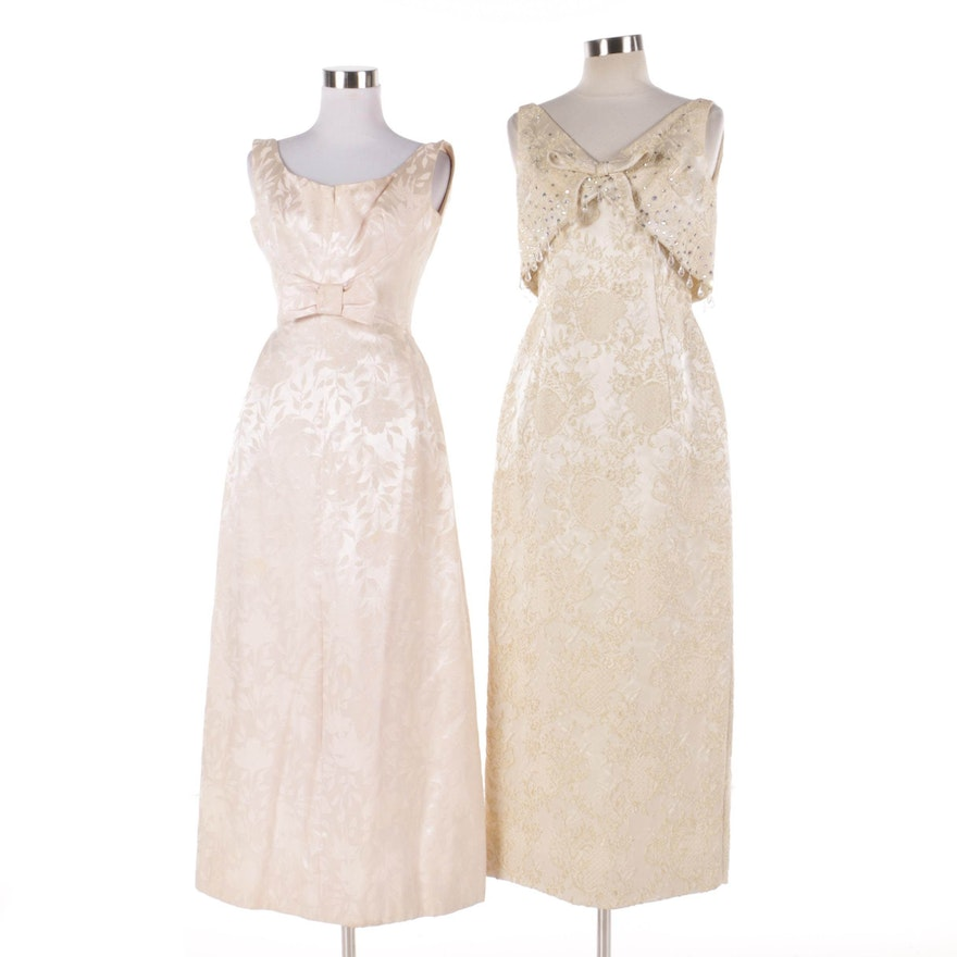 Vintage Circa 1960 Blush and Champagne Evening Dresses : EBTH