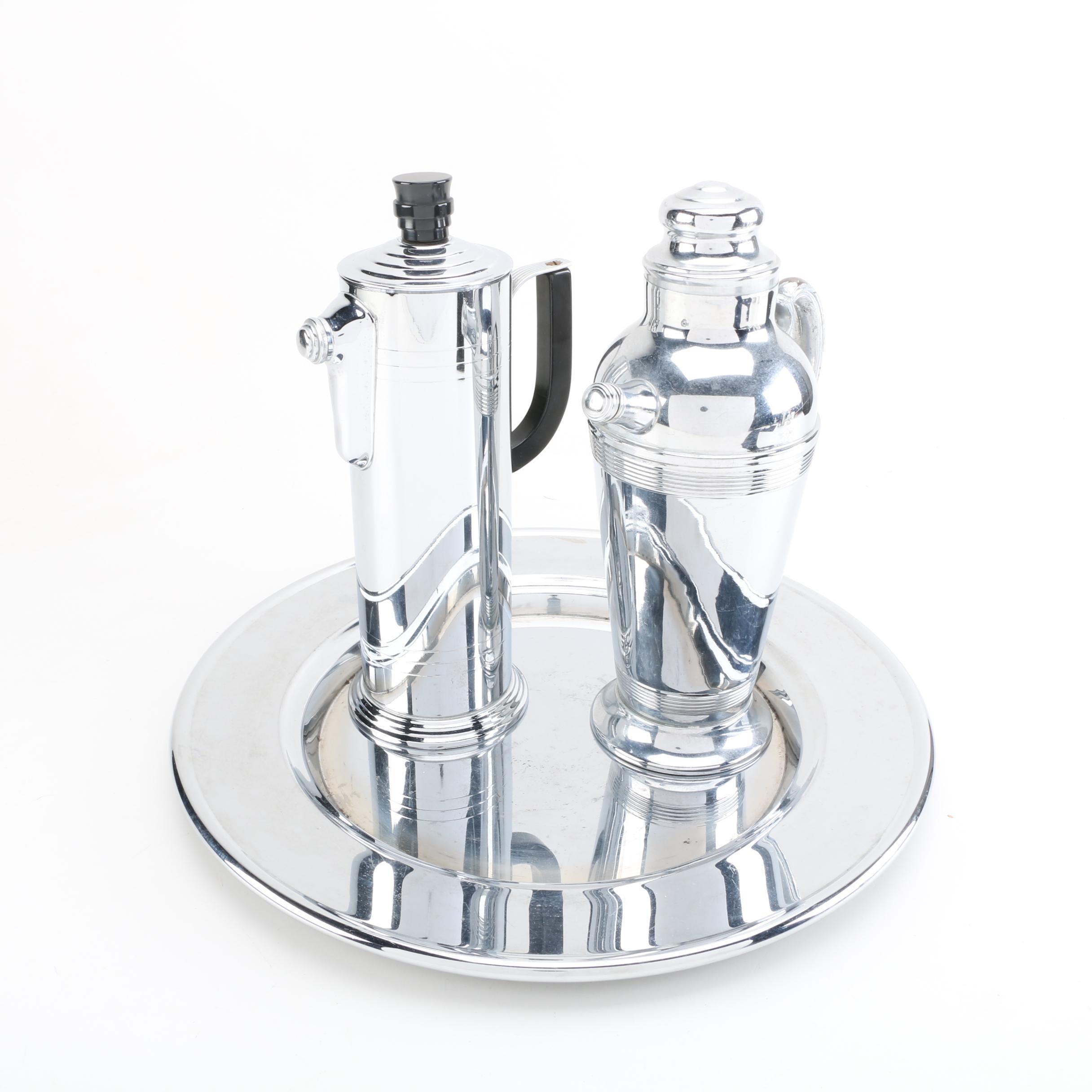 Group of Art Deco Chromed Metal Barware