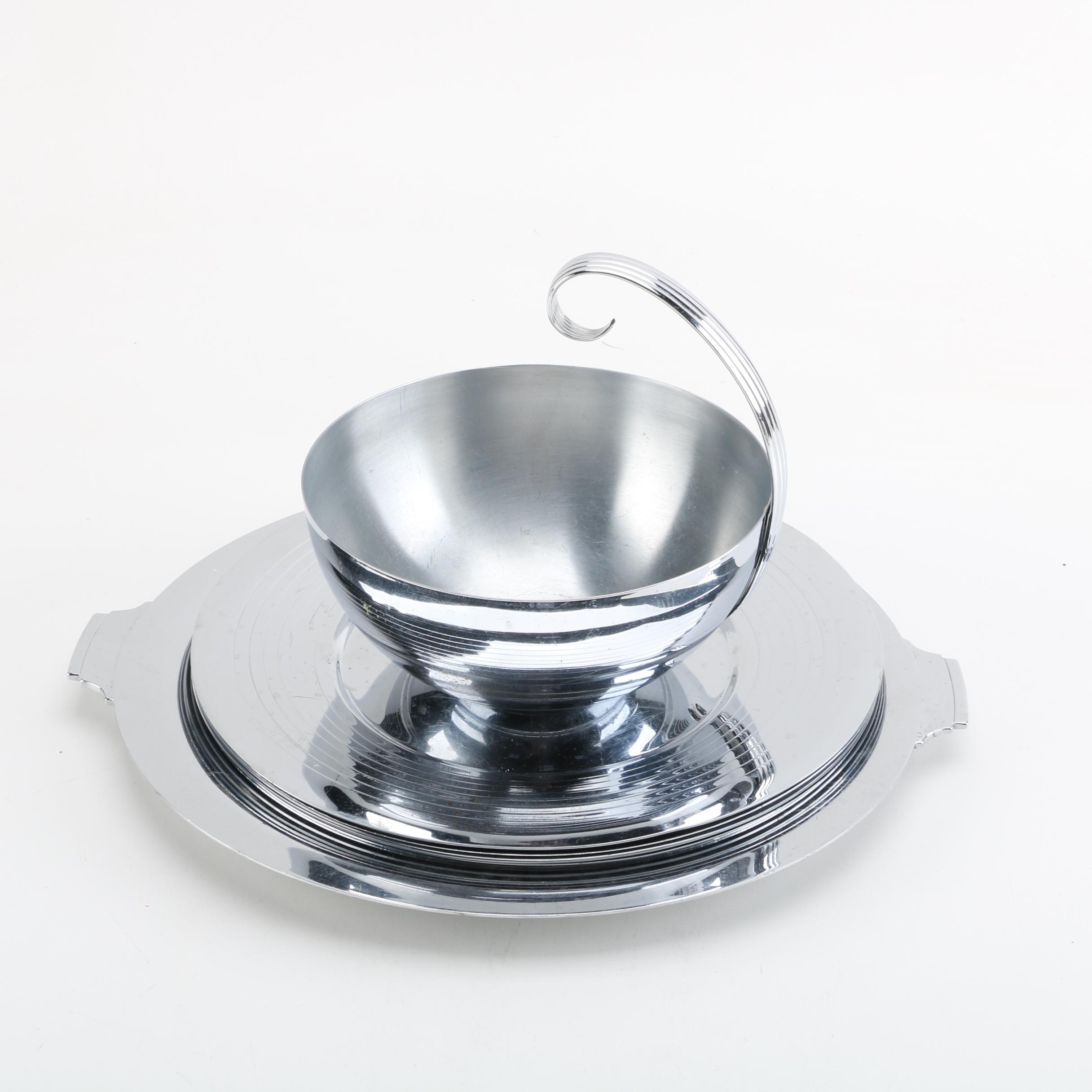 Chase Brass and Copper Company Chromed Metal Servingware