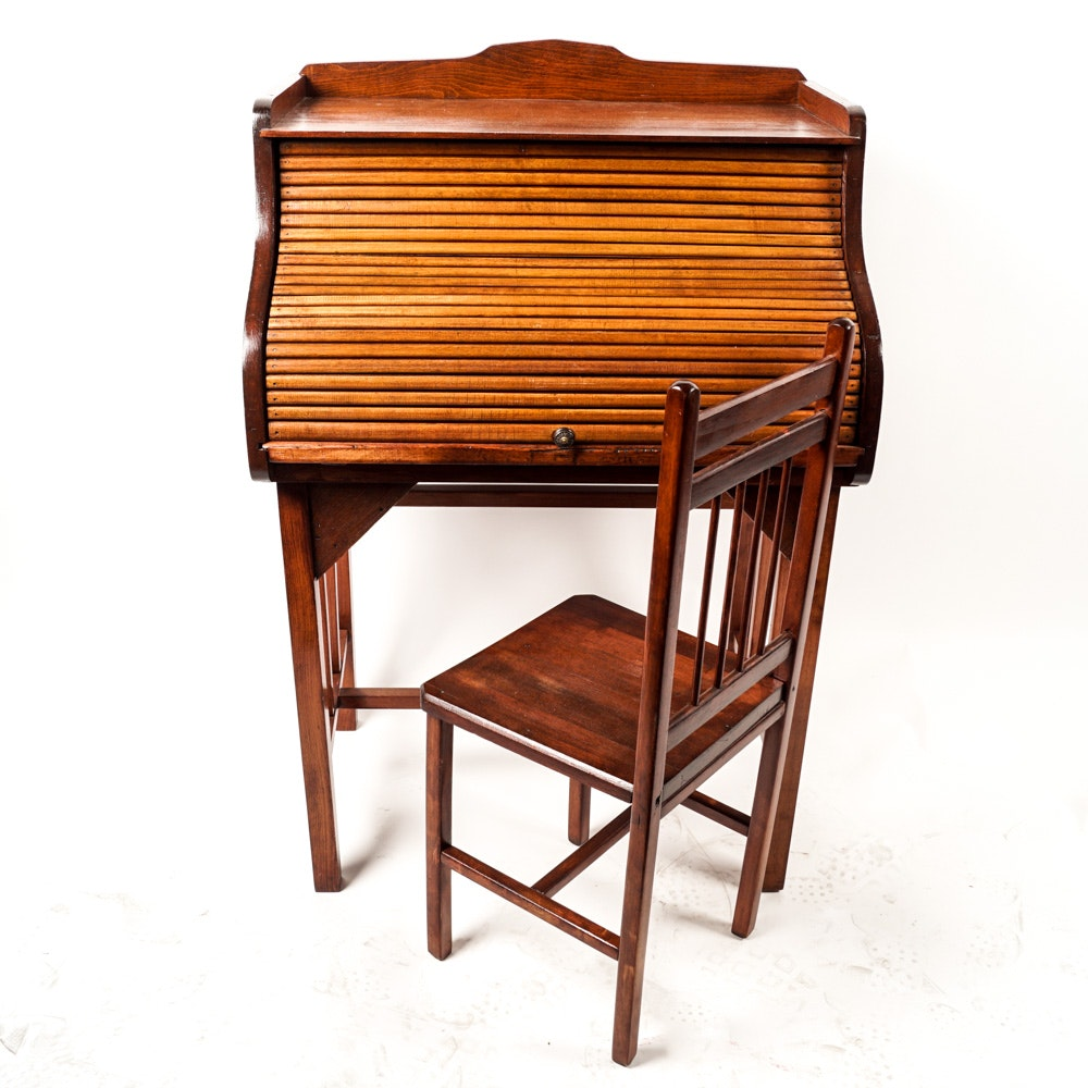 Vintage Arts and Crafts Style Student Desk and Chair