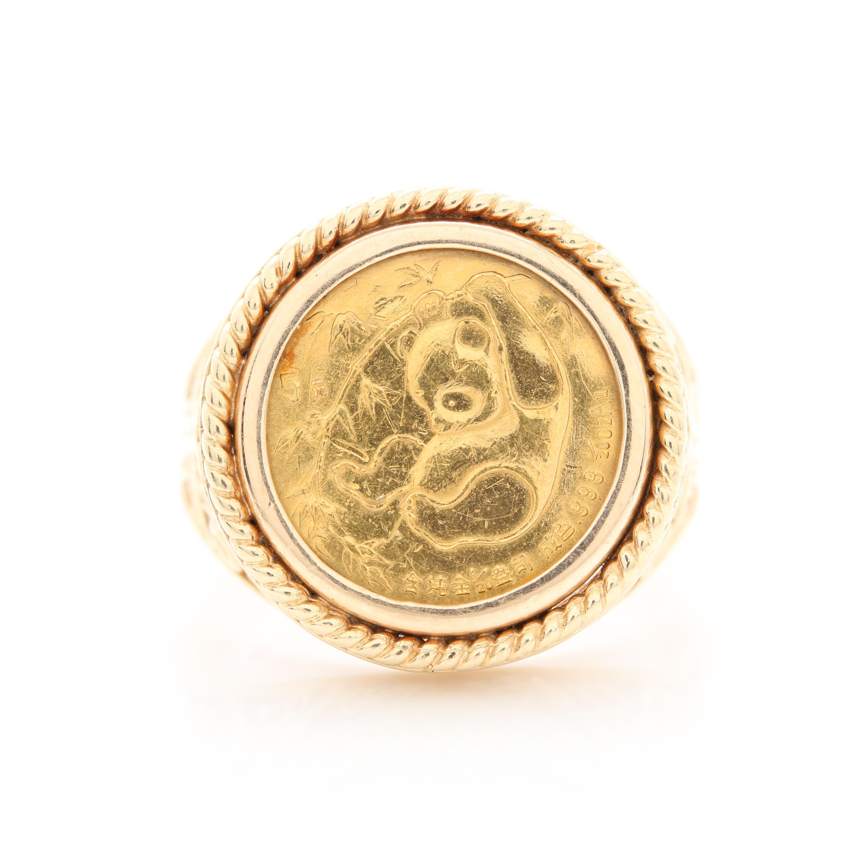 14K and 22K Yellow Gold Chinese Panda Coin Ring