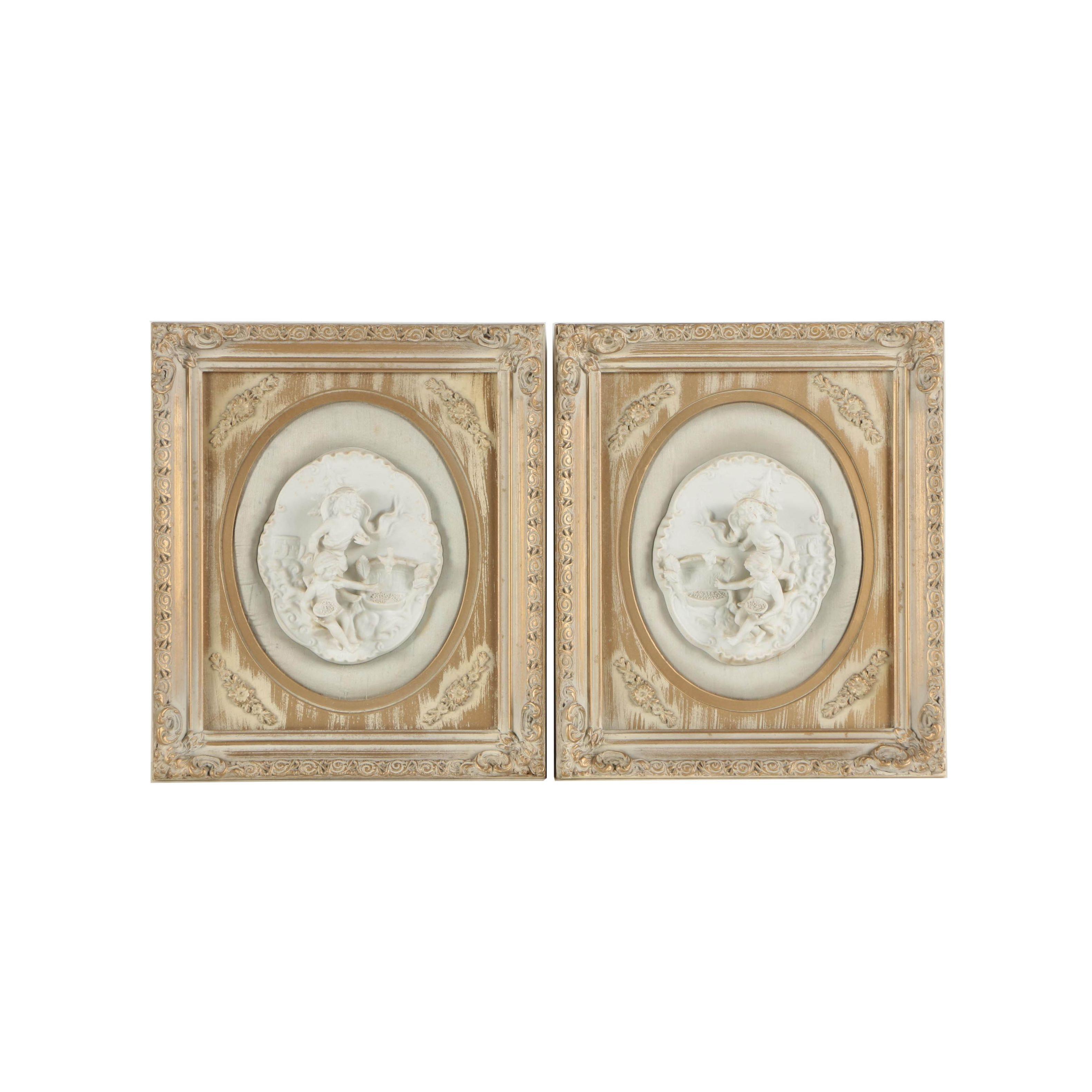 Framed Porcelain Panels of Children