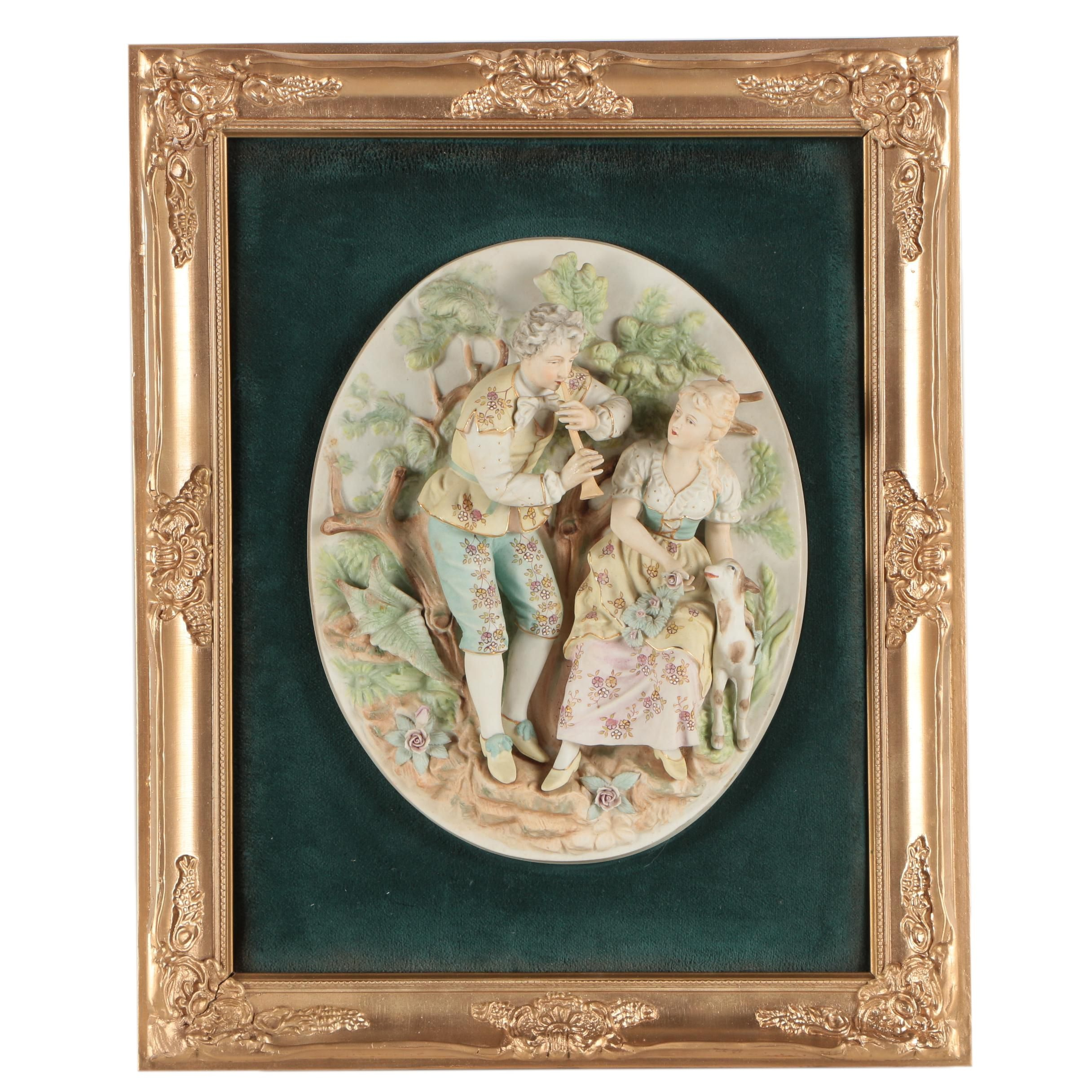 Hand Painted Porcelain Bisque Relief