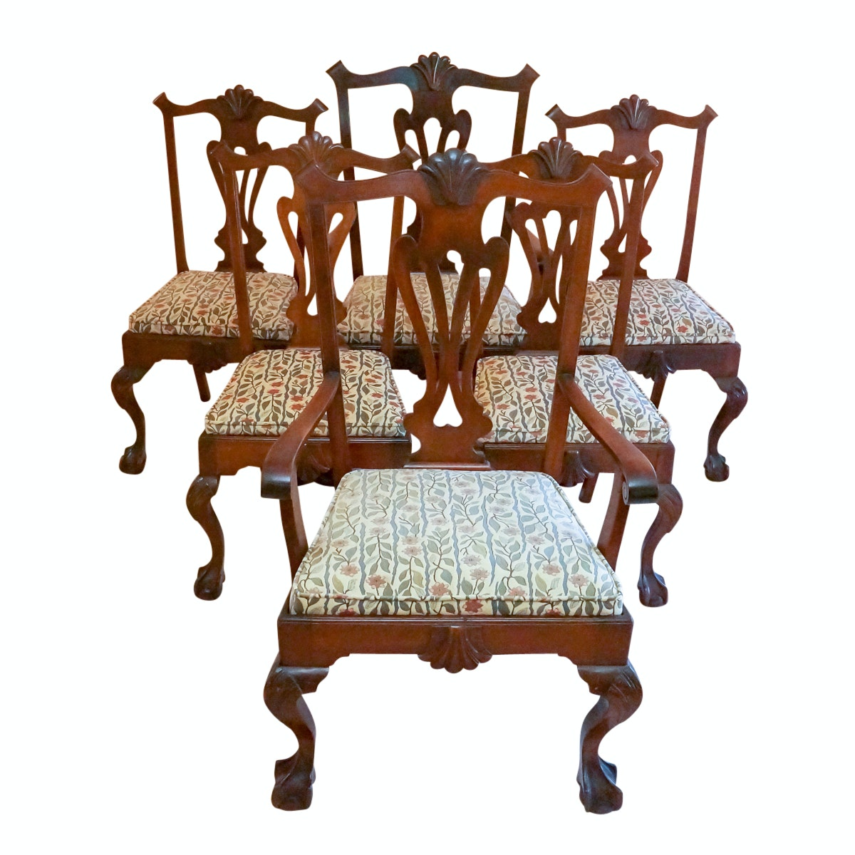 Six Pierced Splat Chippendale Style Dining Chairs
