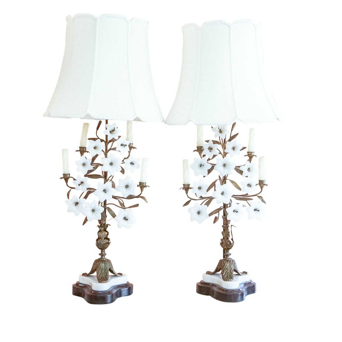 Vintage White Glass Floral Candelabra Table Lamps
