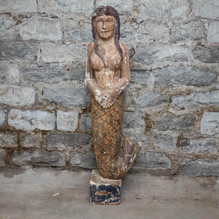 Plaster On Wood Mermaid Sculpture