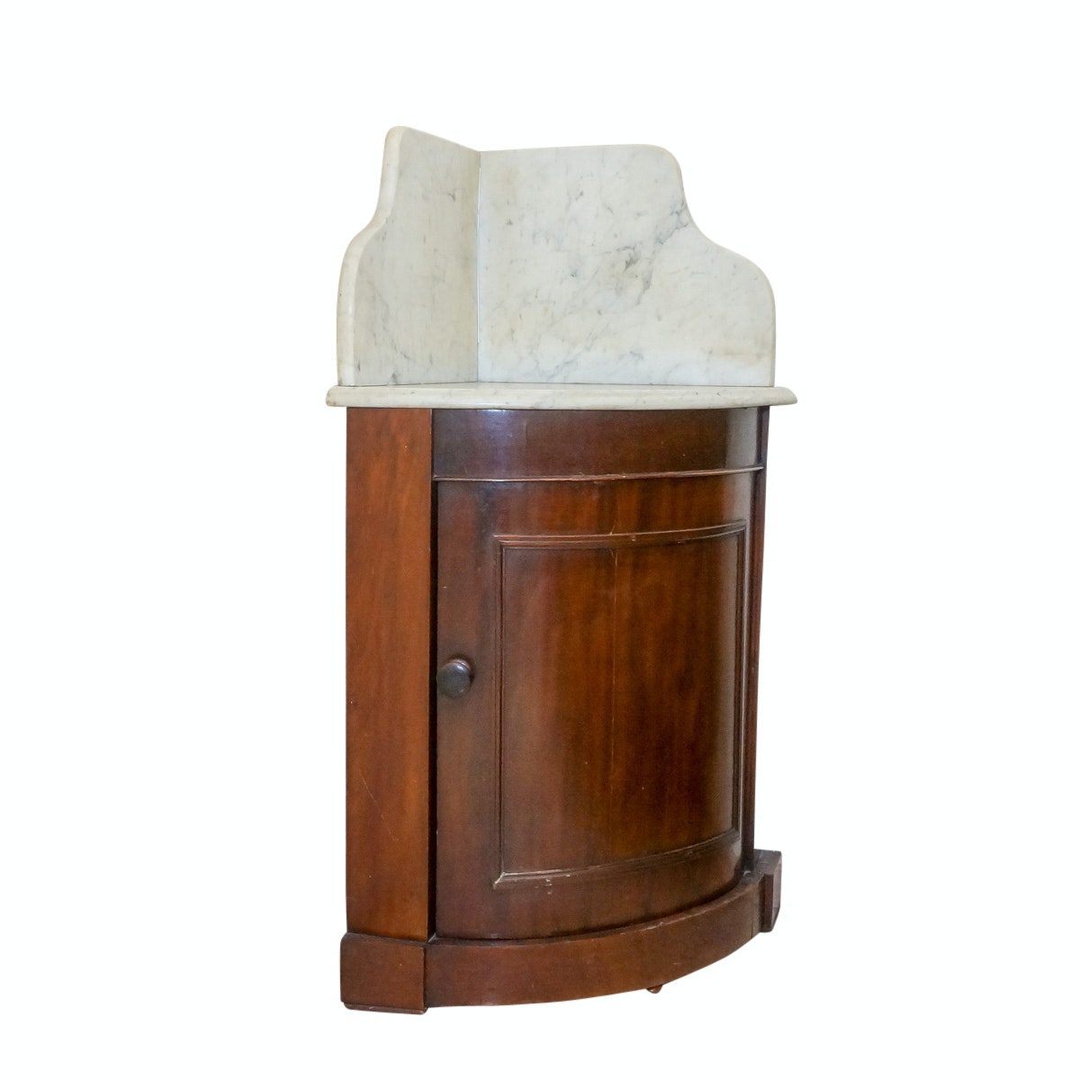 Vintage Marble-Topped Wood Corner Cabinet Washstand