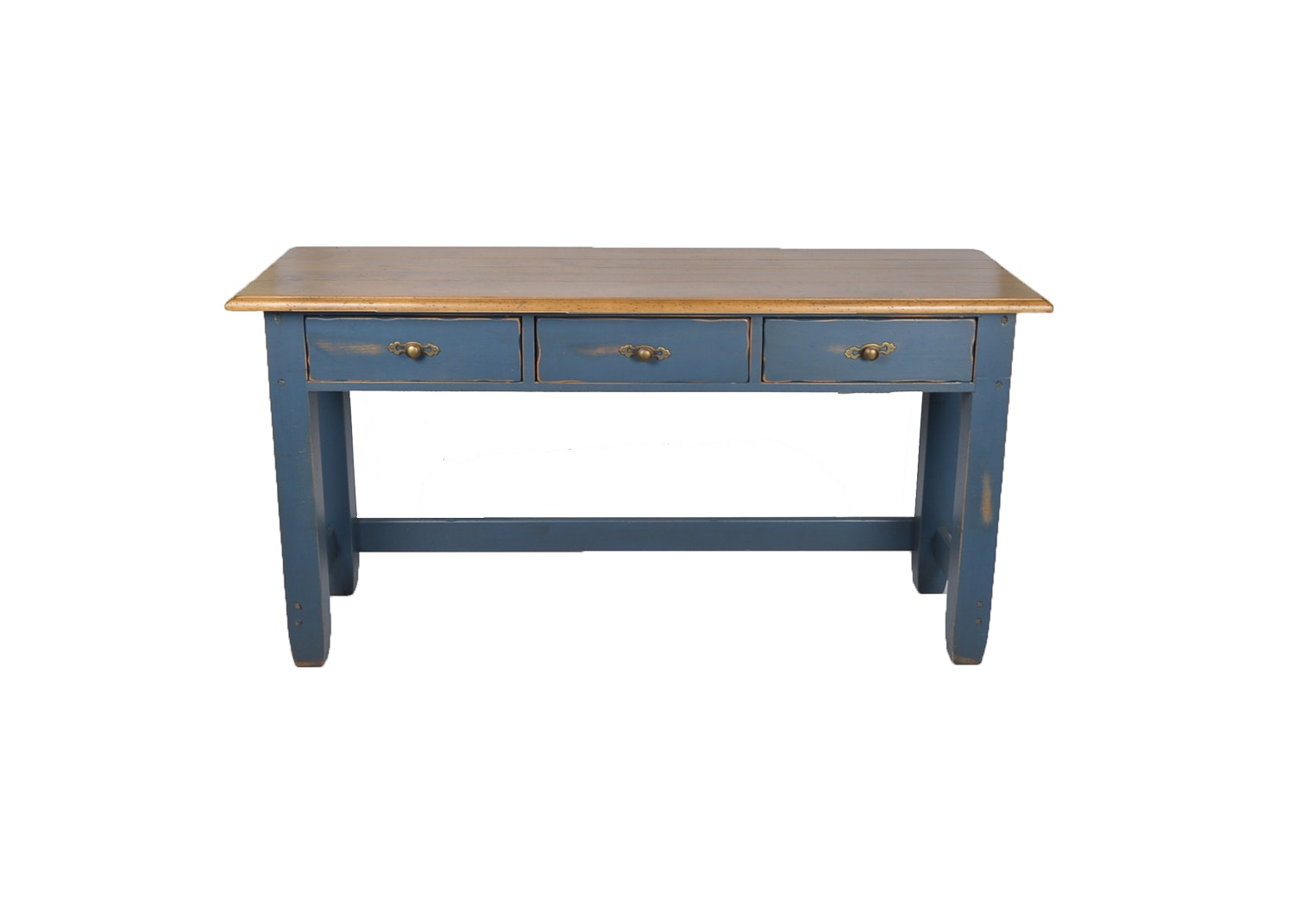 Rustic Butternut Top Painted Farm Table ...