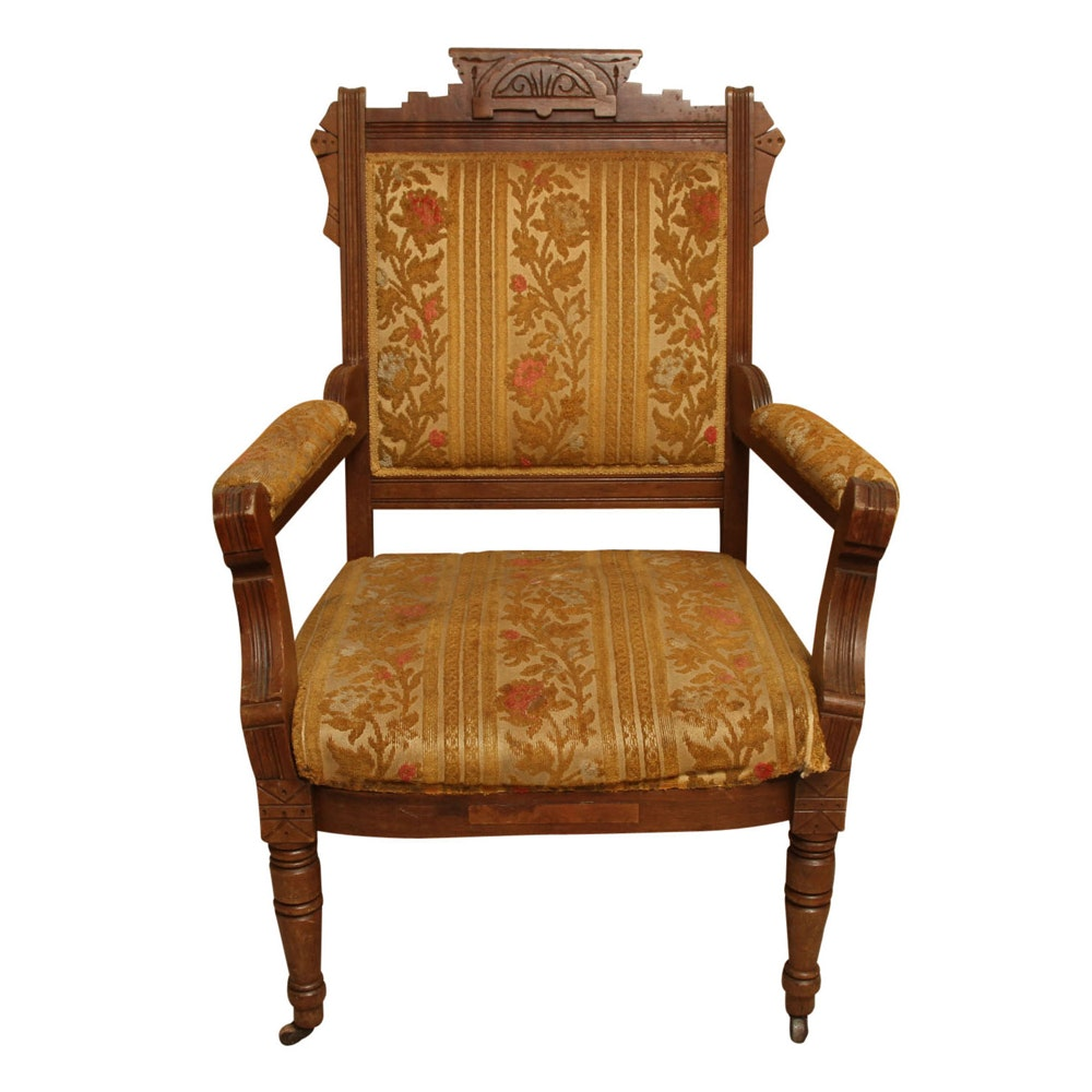 Antique Eastlake Upholstered Armchair