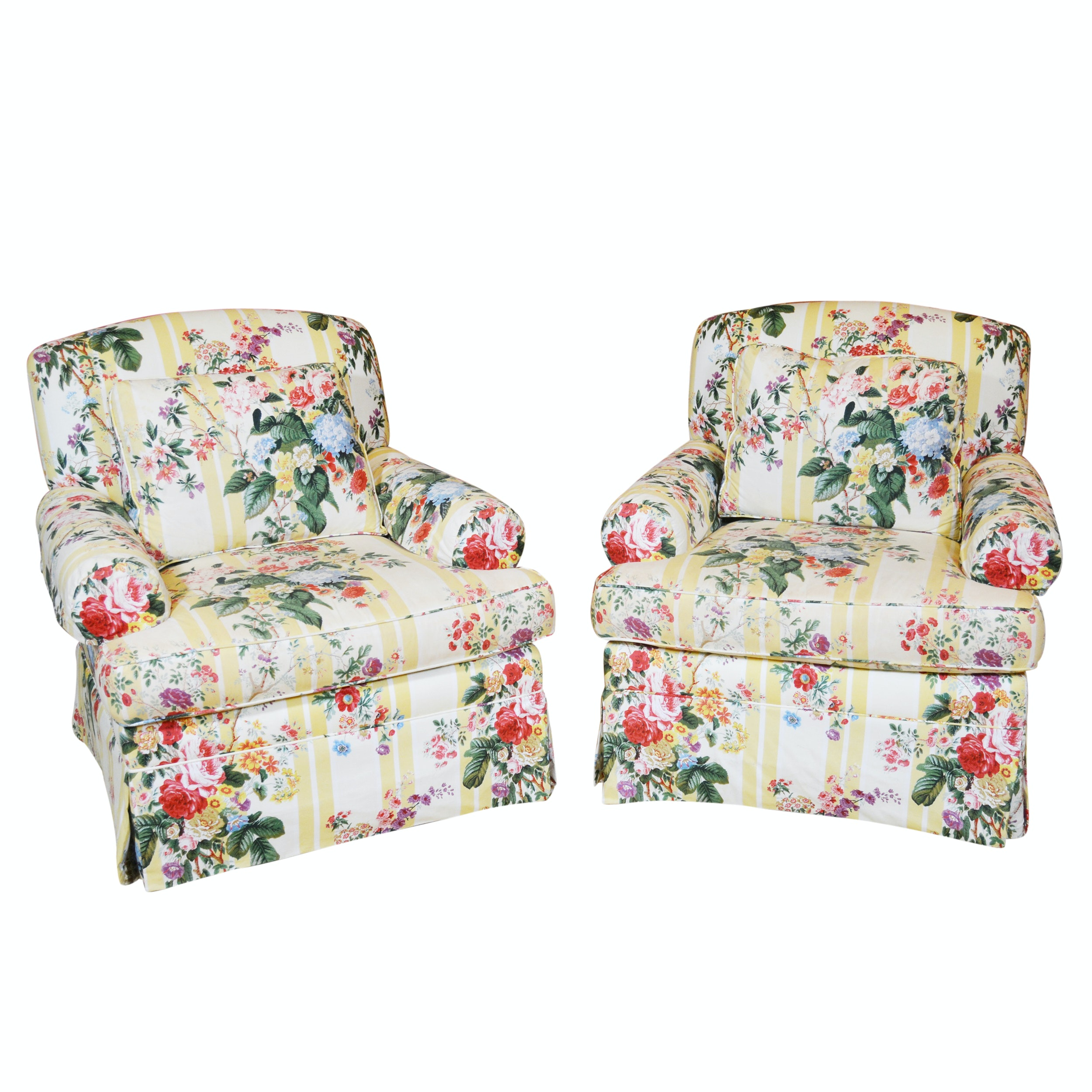 Floral Stripe Upholstered Swivel Chairs By Lee Coggin ...