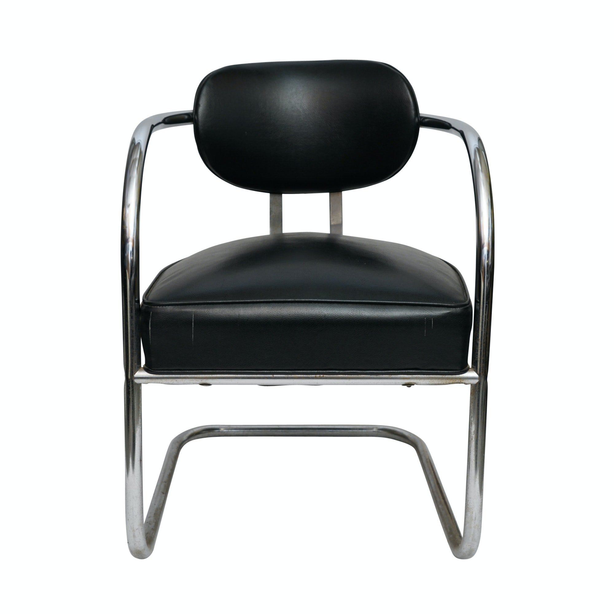 Art Deco Chromed Metal Cantilevered Armchair