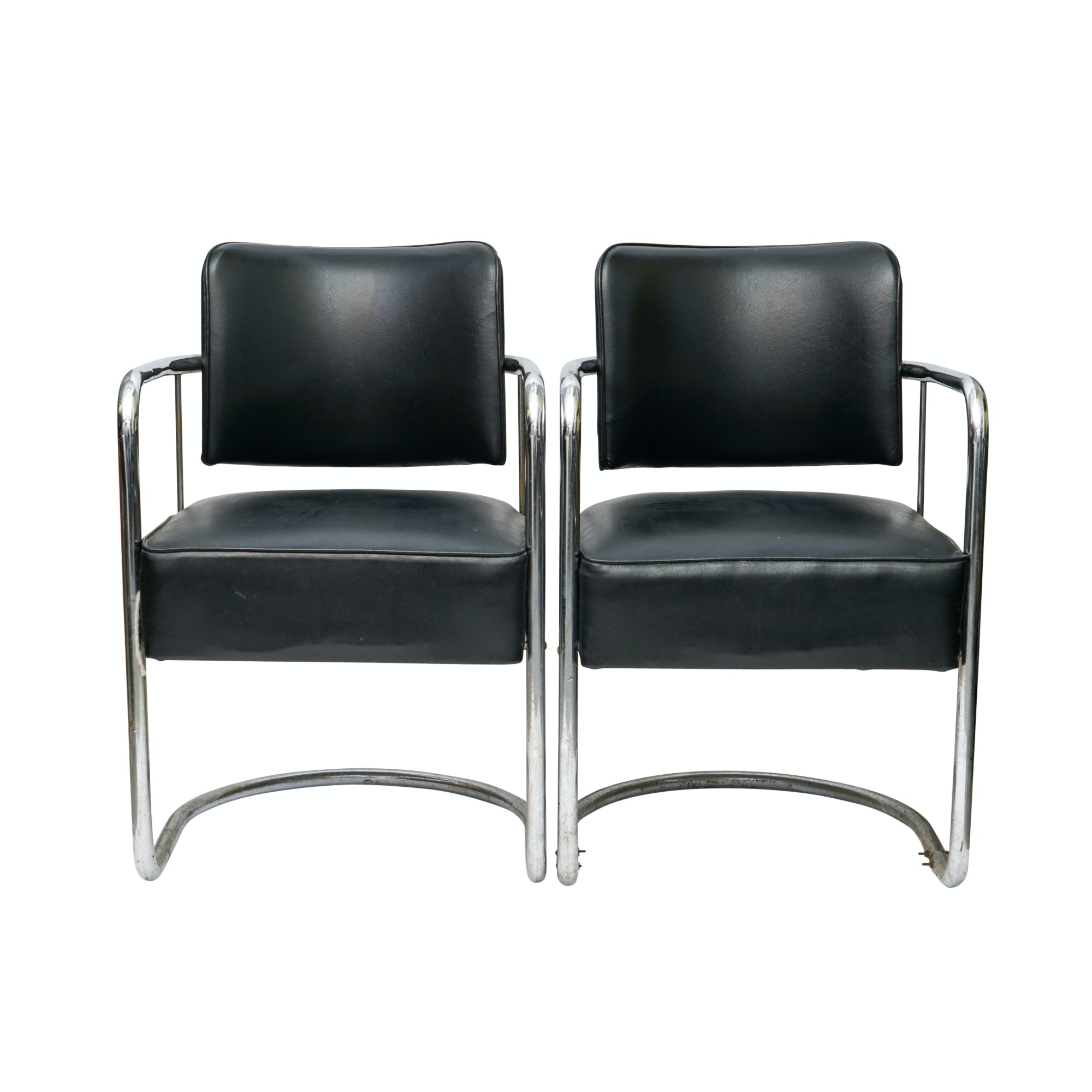 Pair of Art Deco Chromed Metal Cantilevered Armchairs