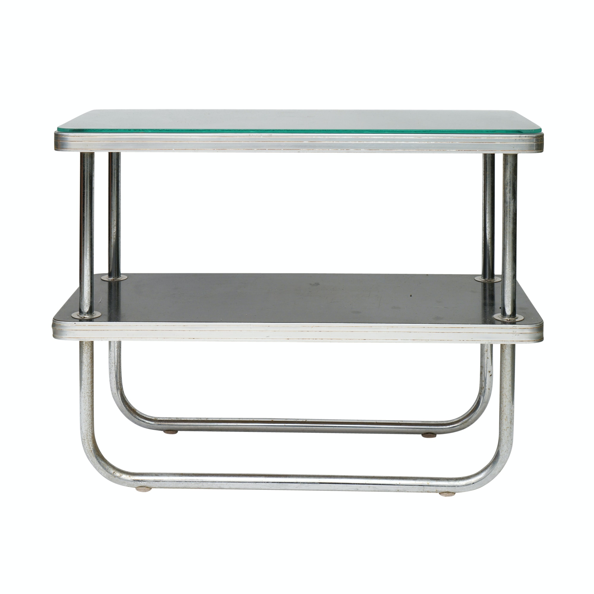 Art Deco Chromed Metal Two Tier Side Table