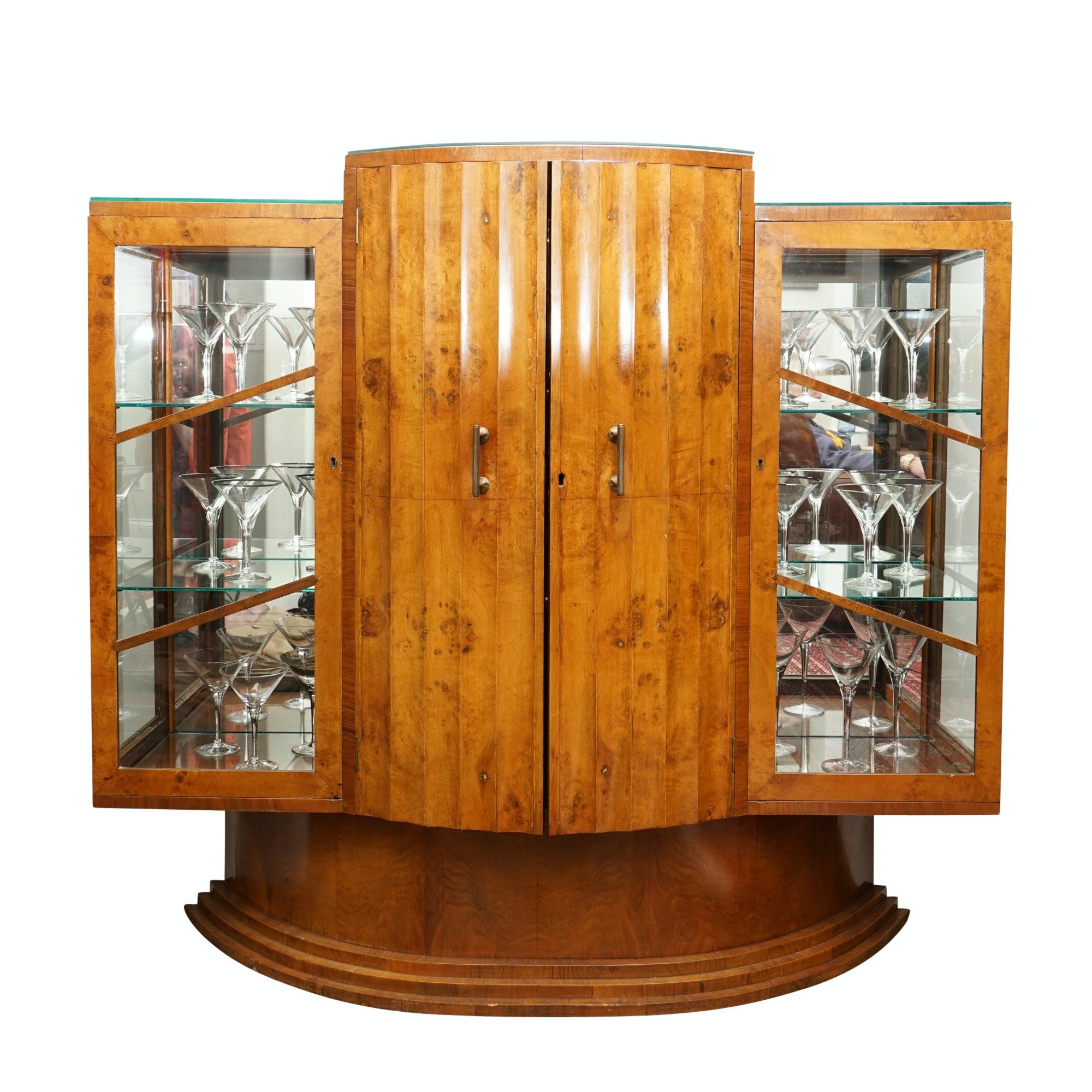Art Deco Burr Walnut Bar Cabinet