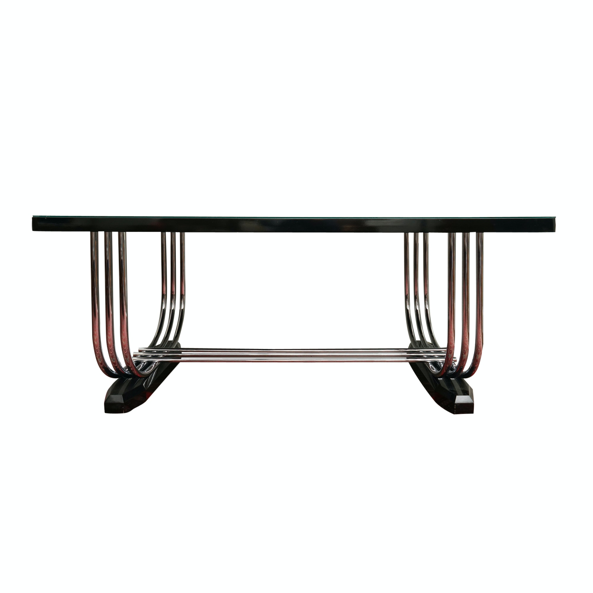 English Art Deco Chromed Metal and Ebonized Wood Dining Table by P.E.L.