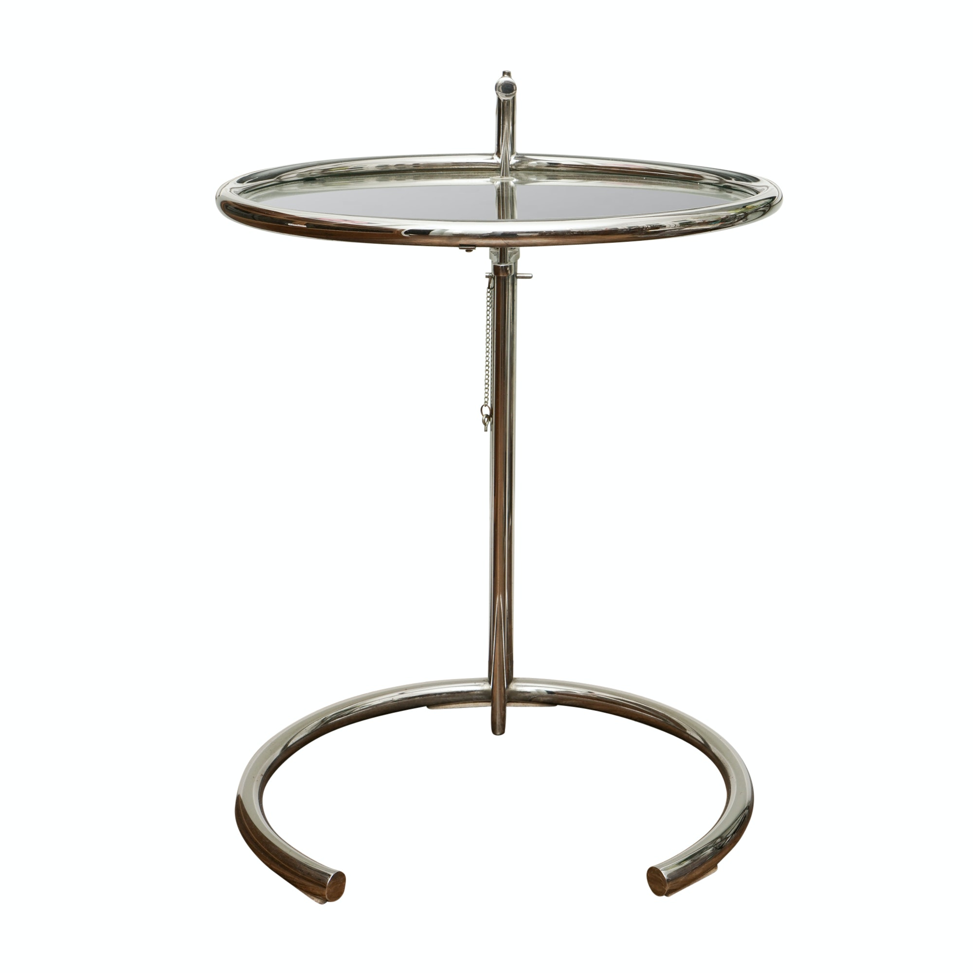 Chromed Metal Adjustable Height Side Table After Eileen Grey