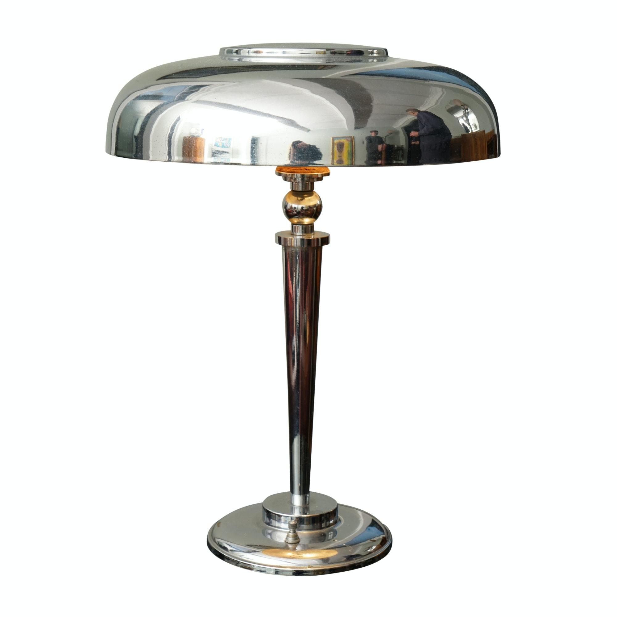Art Deco Chromed Metal Table Lamp