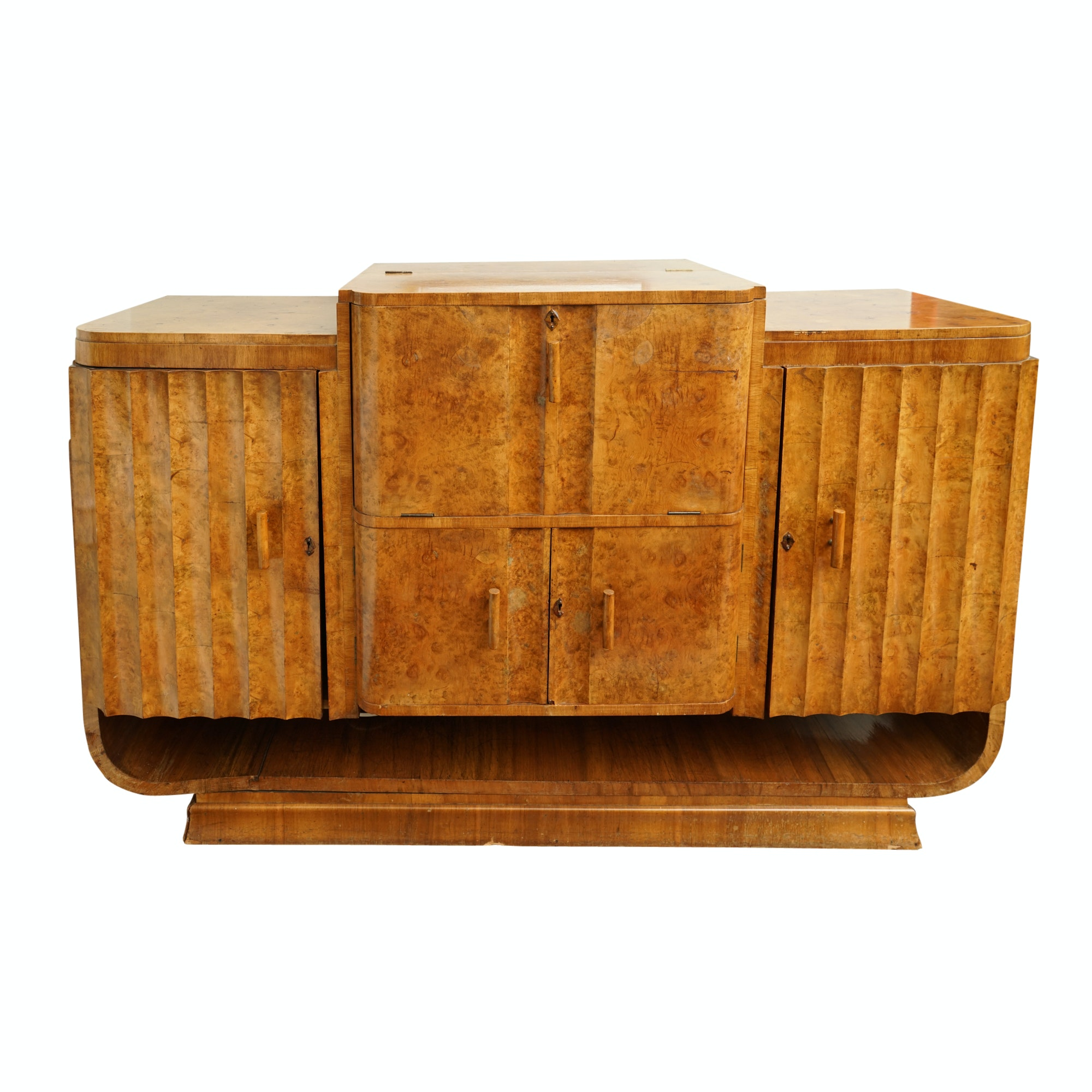 English Art Deco Burl Walnut Bar Cabinet, probably Epstein Brothers