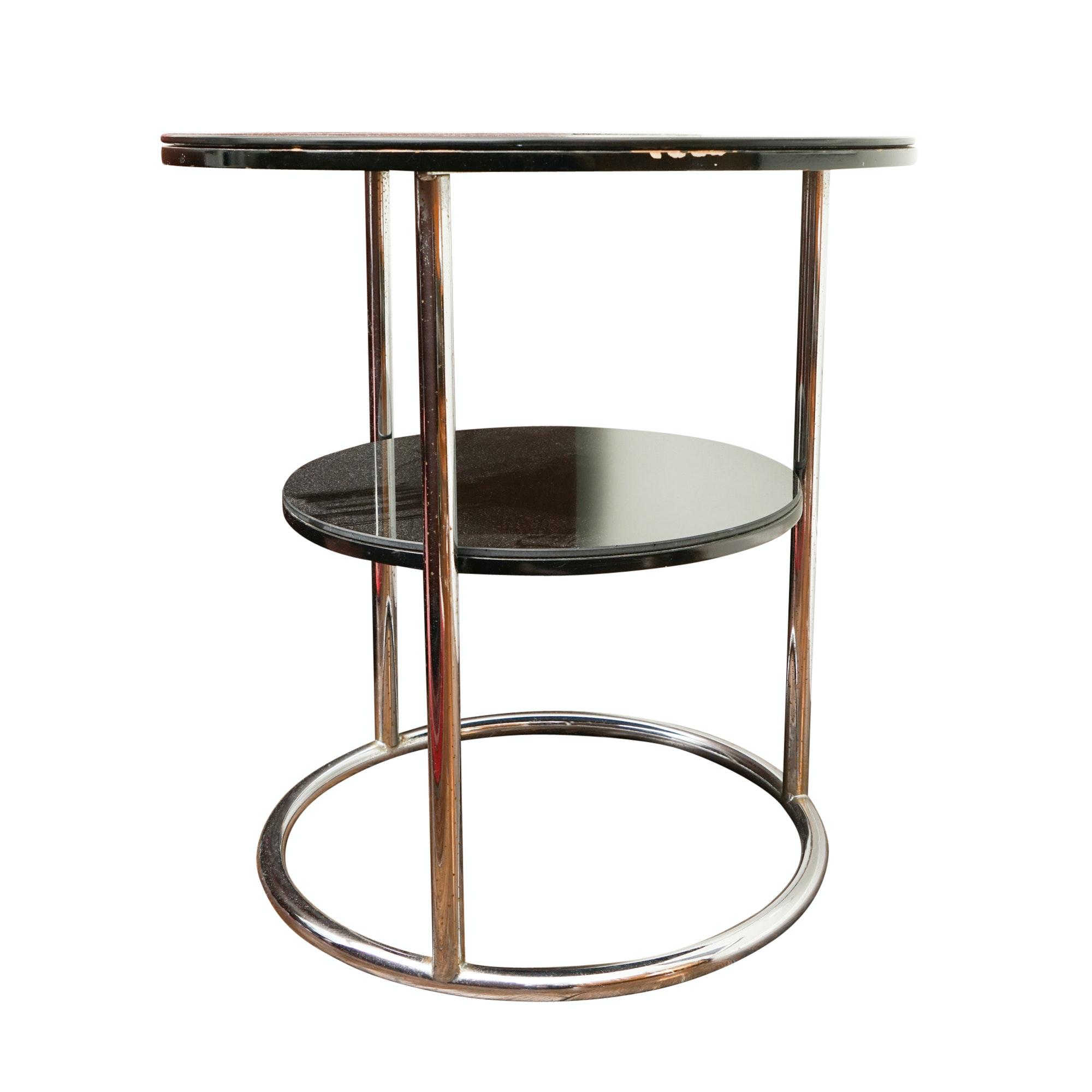 Art Deco Chromed Metal Side Table