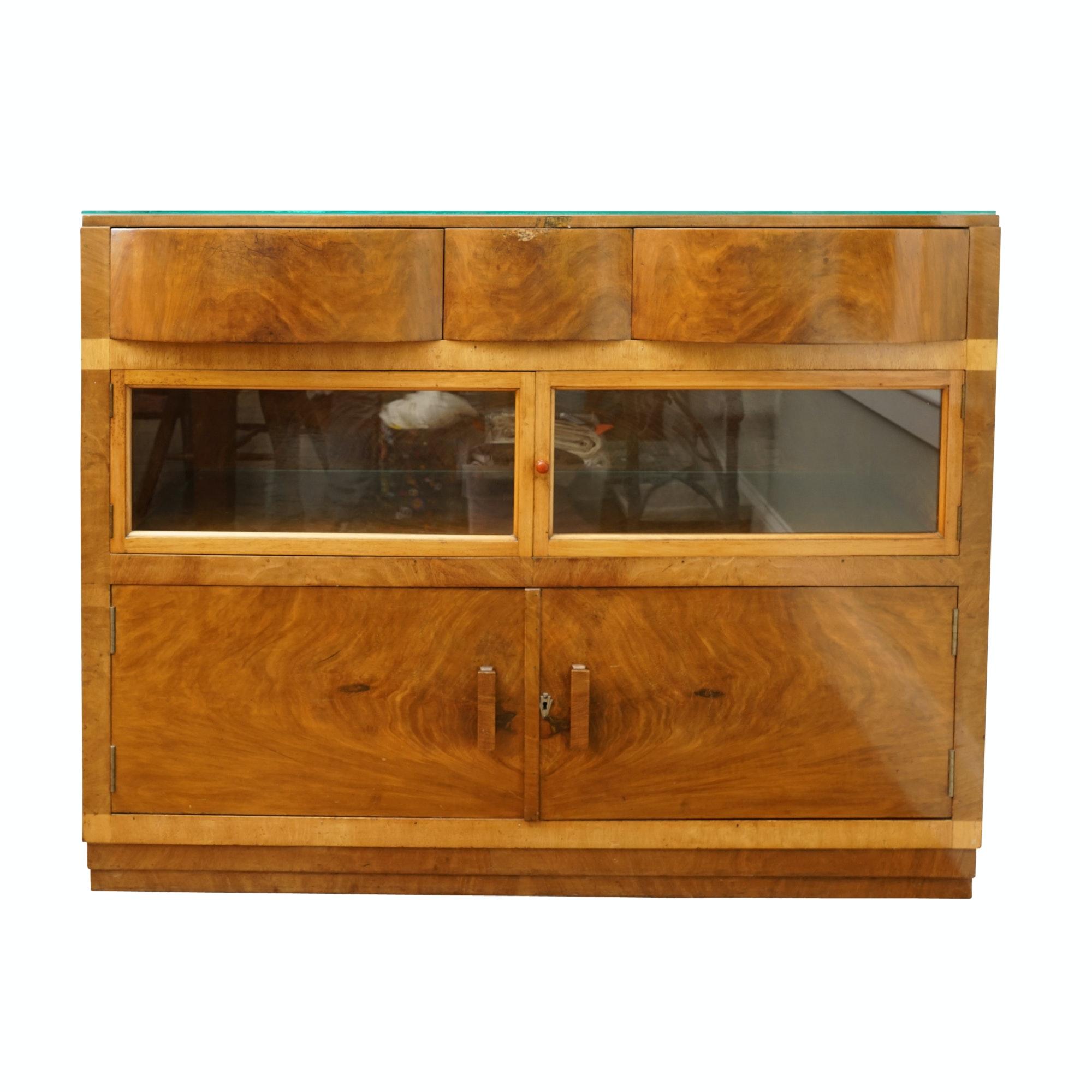 English Art Deco Walnut and Birch Sideboard by M.P. Davis