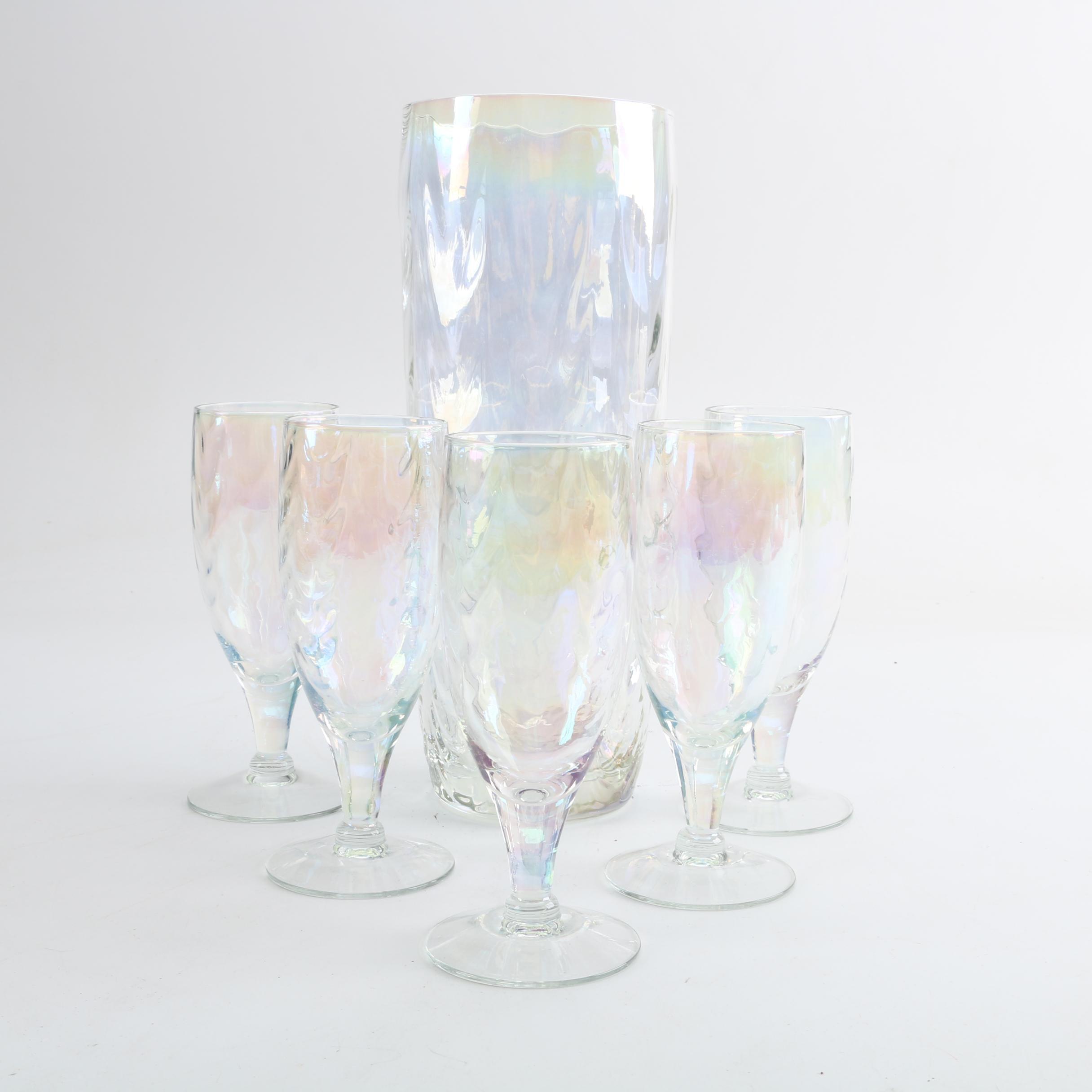 Iridescent Glass Pitcher Set