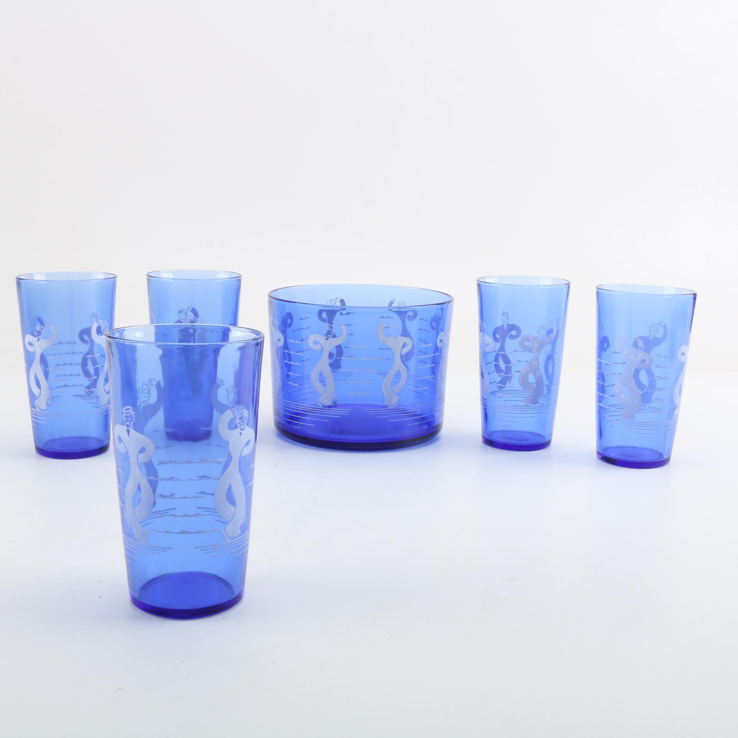 """Vintage Hazel-Atlas """"Sailors"""" Blue Glass Ice Bucket and Tumblers"""